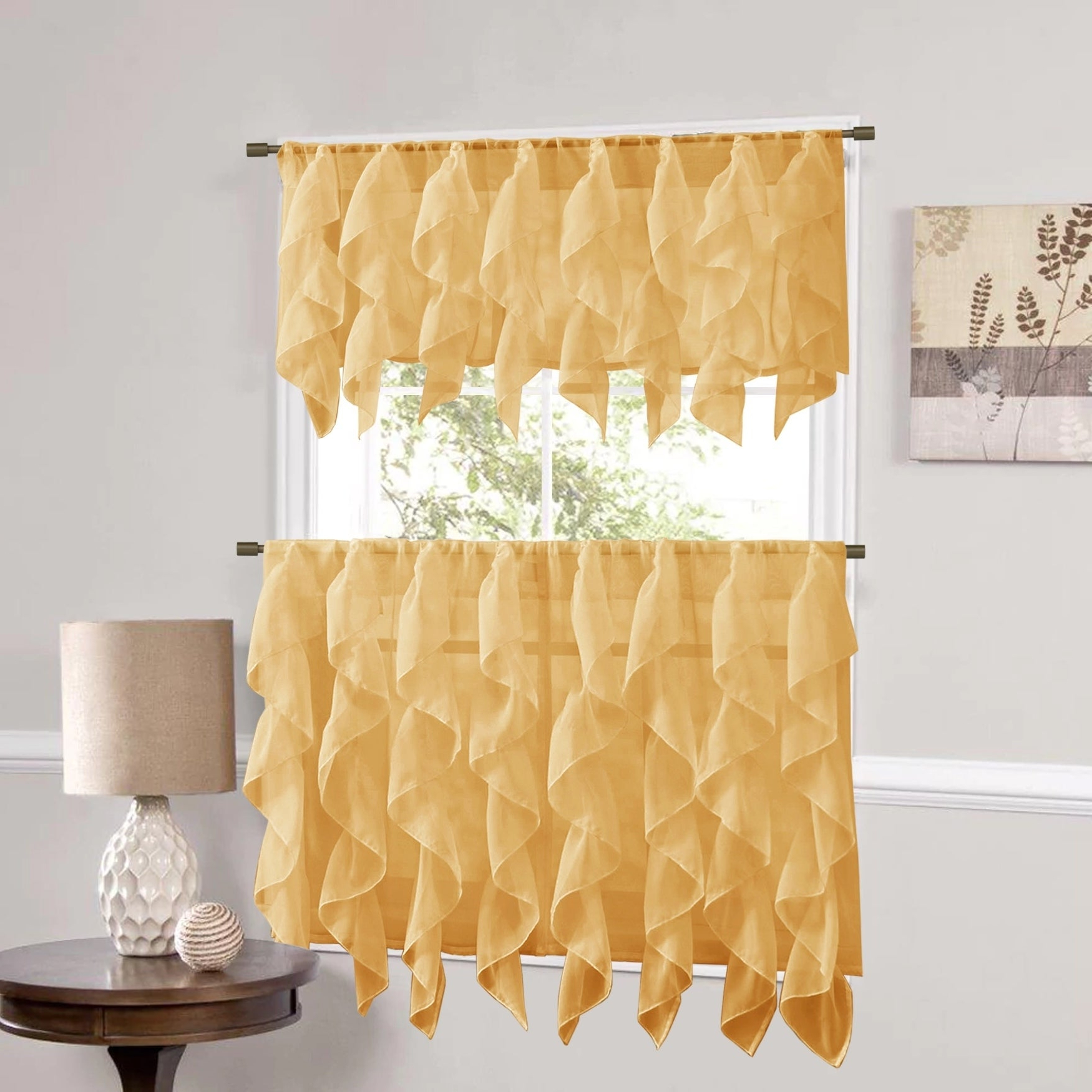 Silver Vertical Ruffled Waterfall Valance And Curtain Tiers With Regard To Current Sweet Home Collection Camel Vertical Ruffled Waterfall Valance And Curtain Tiers (View 4 of 20)
