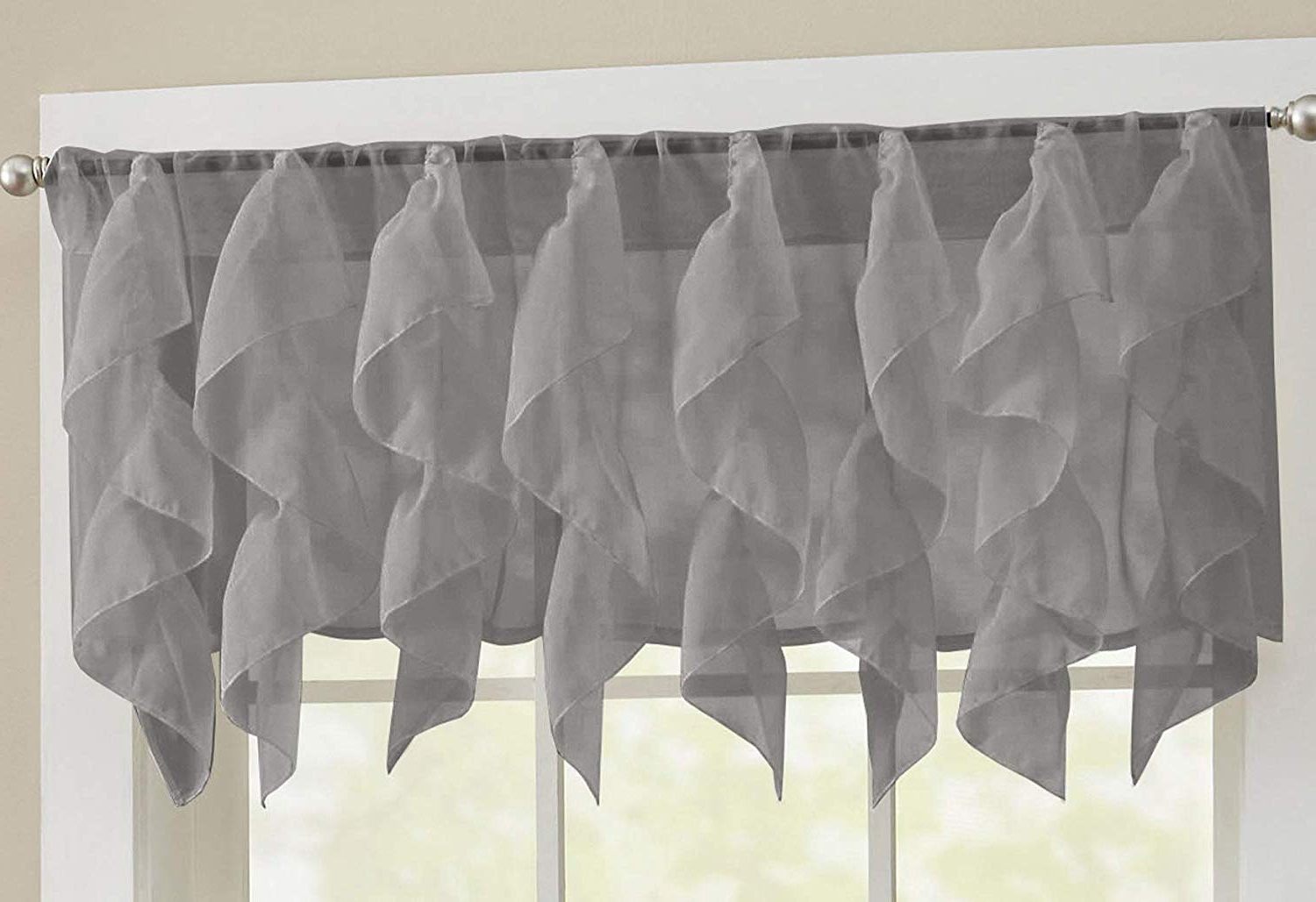 "Silver Vertical Ruffled Waterfall Valance And Curtain Tiers Within Most Recent Sweet Home Collection Veritcal Kitchen Curtain Sheer Cascading Ruffle Waterfall Window Treatment Choice Of Valance, 24"" Or 36"" Teir, And Kit, Gray (View 19 of 20)"