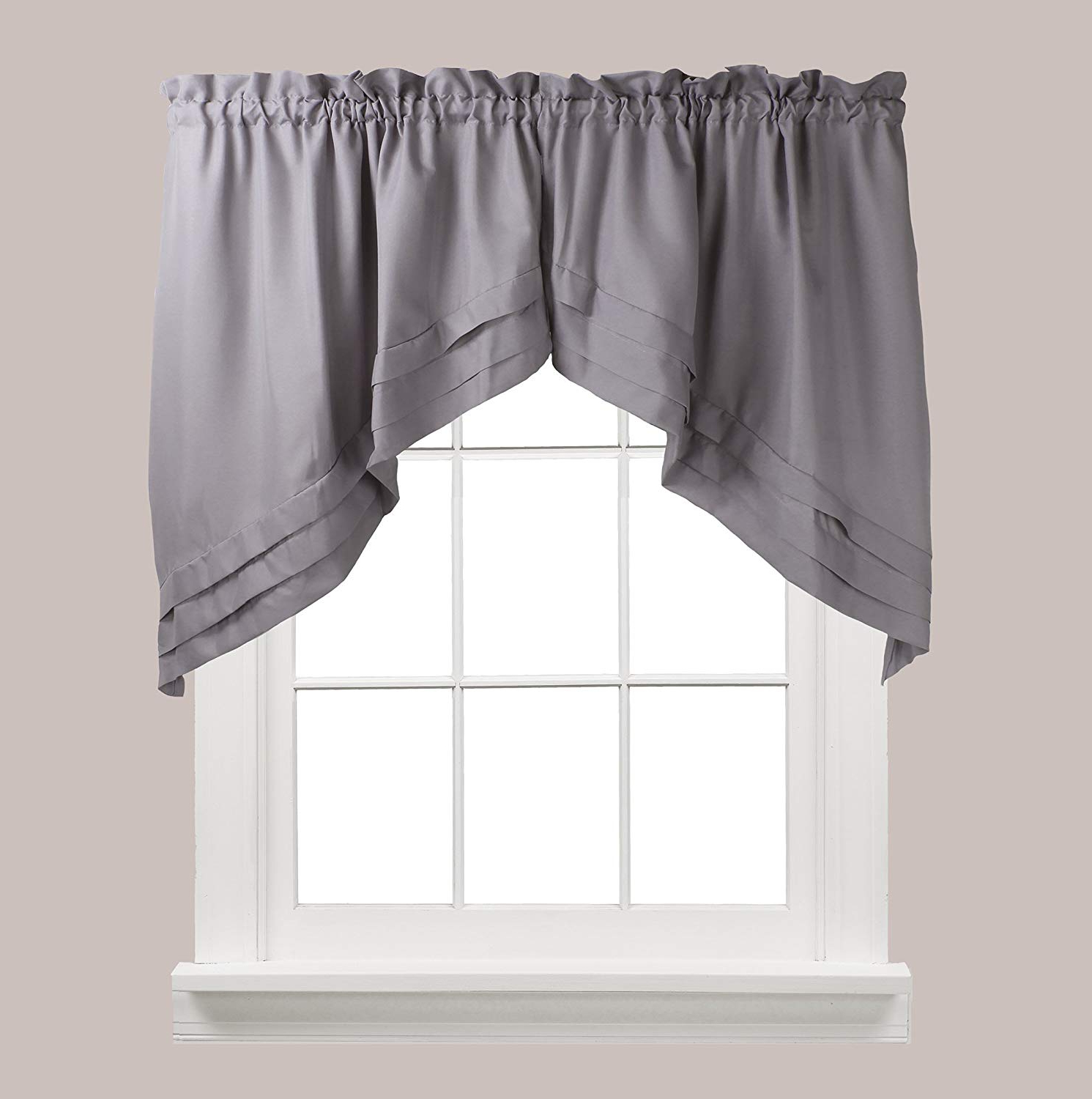 Skl Home Holden Tier Curtain Pair, Dove Gray, 57 Inches X 24 Inches Within 2021 Dove Gray Curtain Tier Pairs (View 15 of 20)