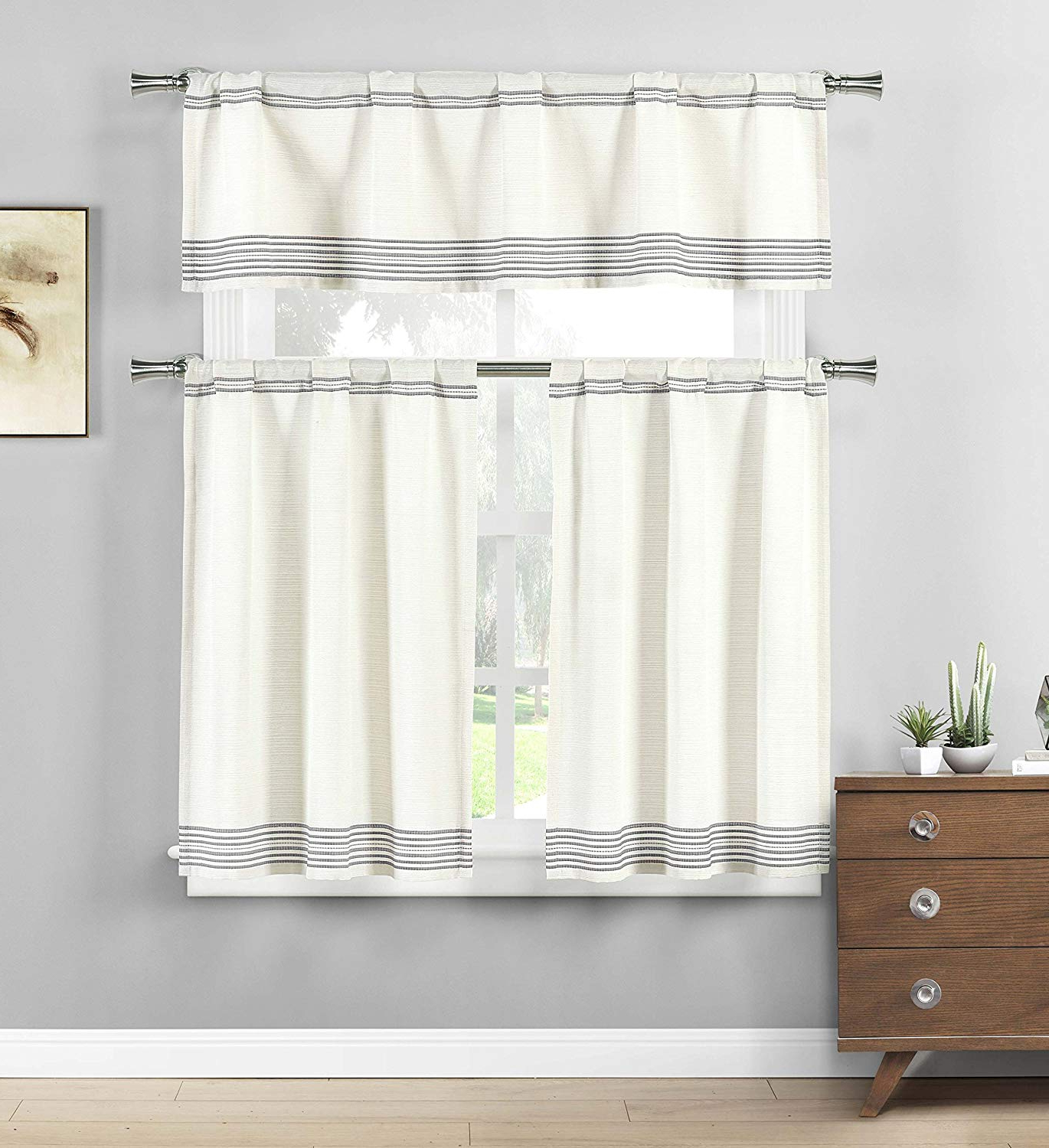 Small Window Curtain For Cafe, Bath, Laundry, Bedroom – (Grey) (View 16 of 20)
