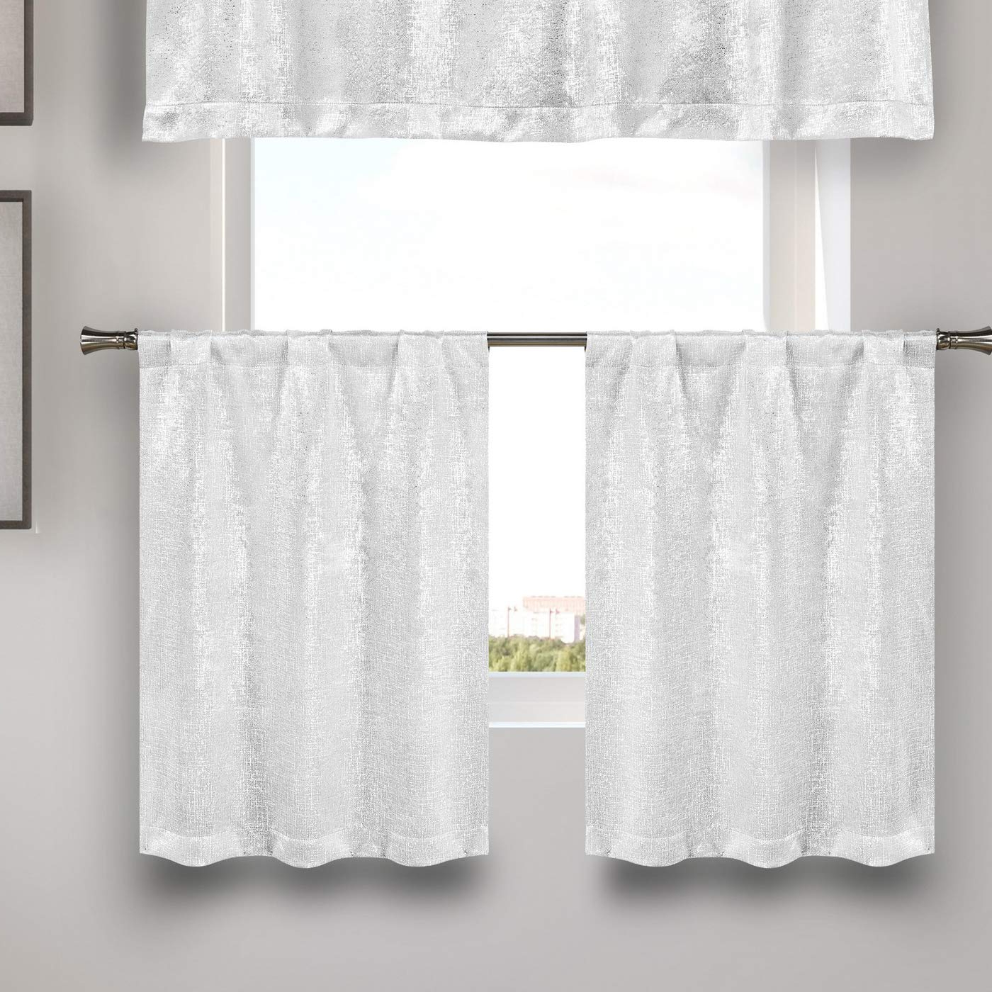 Small Window Curtain For Cafe, Bath, Laundry, Bedroom – White) Inside Most Popular Grey Window Curtain Tier And Valance Sets (View 9 of 20)