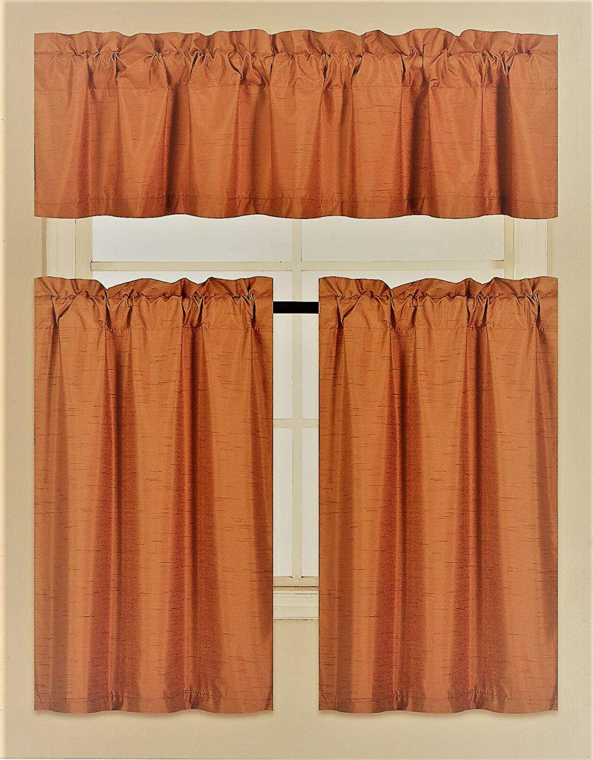 Solid Microfiber 3 Piece Kitchen Curtain Valance And Tiers Sets For Latest Diamondhome 3 Piece Faux Silk Blackout Kitchen Window Curtain Set 2 Tiers &  1 Valance Lined Thermal Blackout Drape Window Treatment (Burgundy) (View 12 of 20)