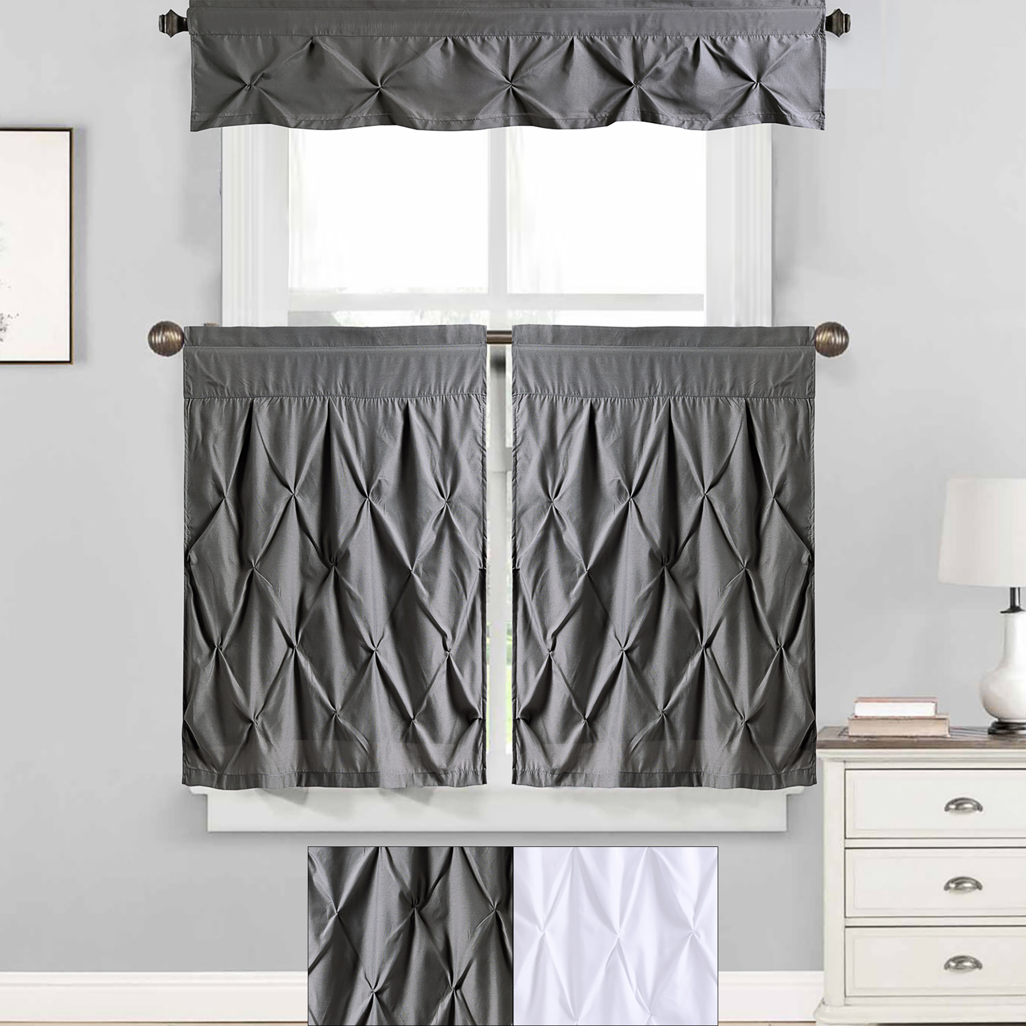 "Solid Microfiber 3 Piece Kitchen Curtain Valance And Tiers Sets For Popular Details About Hudson Pintuck Kitchen Window Curtain 36"" Tier Pair And  Valance Set (View 13 of 20)"