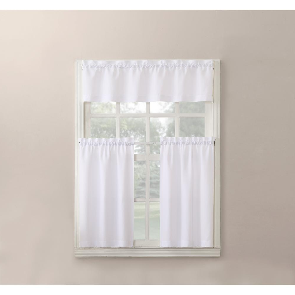 Solid Microfiber 3 Piece Kitchen Curtain Valance And Tiers Sets Within Most Current No. 918 Martine White Microfiber Kitchen Curtains (3 Piece Set) – 54 In. W  X 36 In (View 16 of 20)