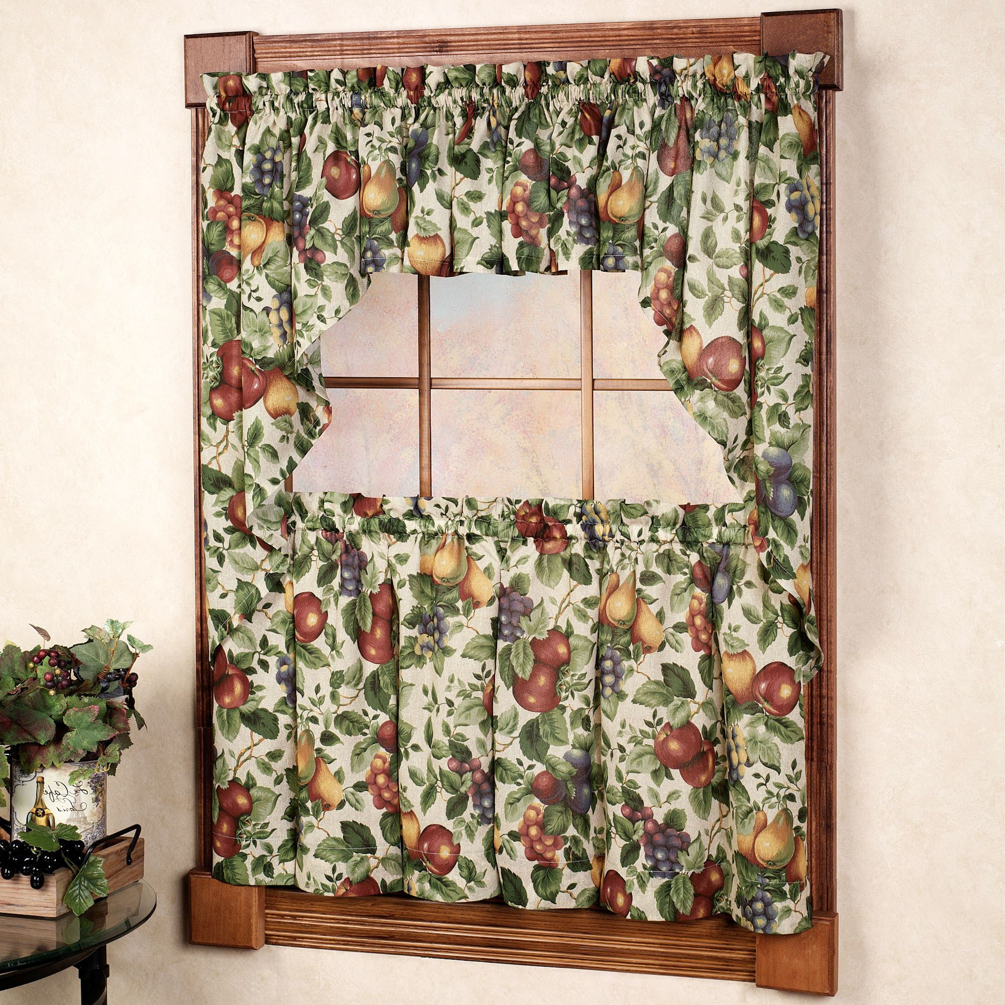 Sonoma Fruit Tier Window Treatments Regarding Widely Used Apple Orchard Printed Kitchen Tier Sets (View 5 of 20)