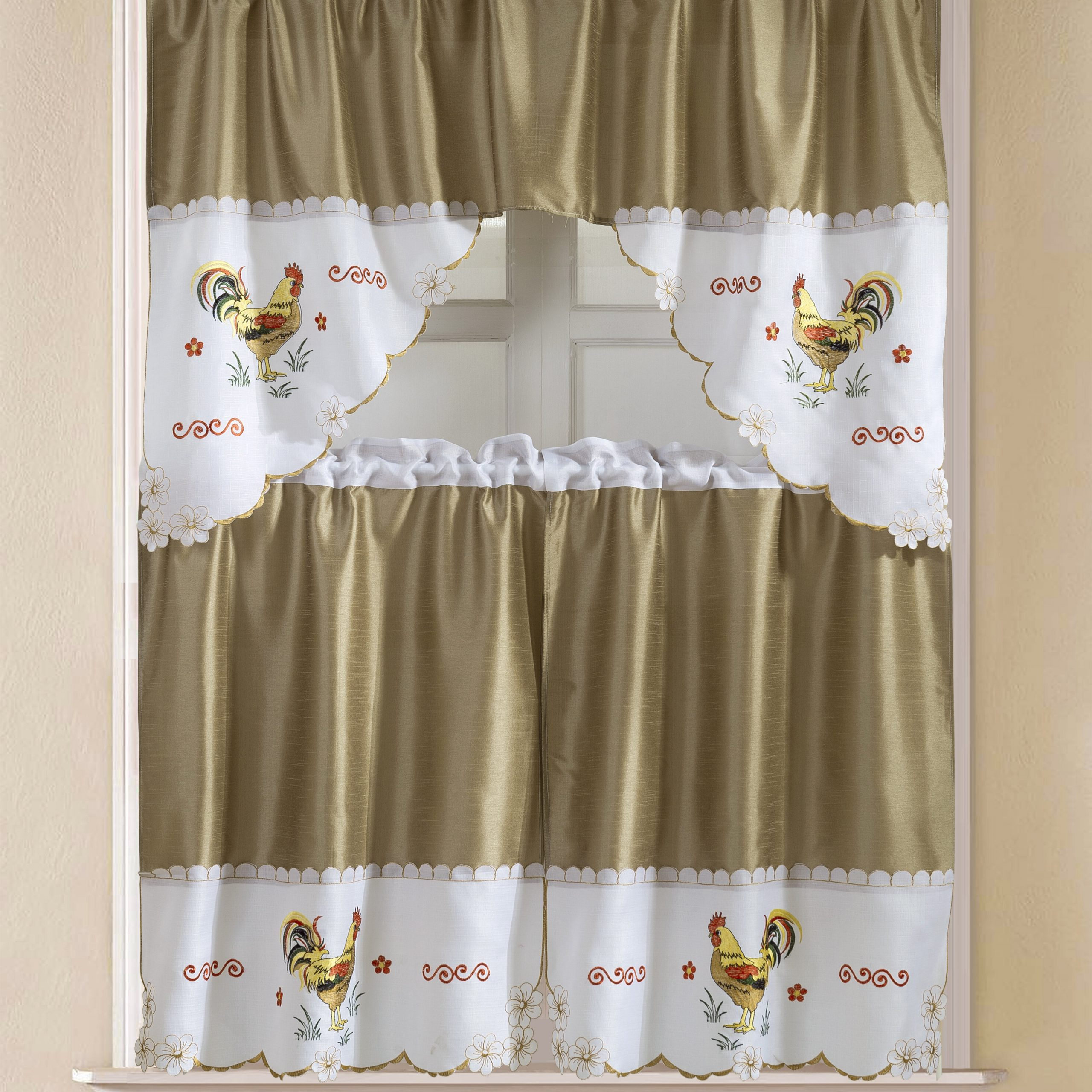 "Sorrentino Faux Silk 3 Piece 60"" Kitchen Curtain Set With Regard To Current Faux Silk 3 Piece Kitchen Curtain Sets (View 4 of 20)"