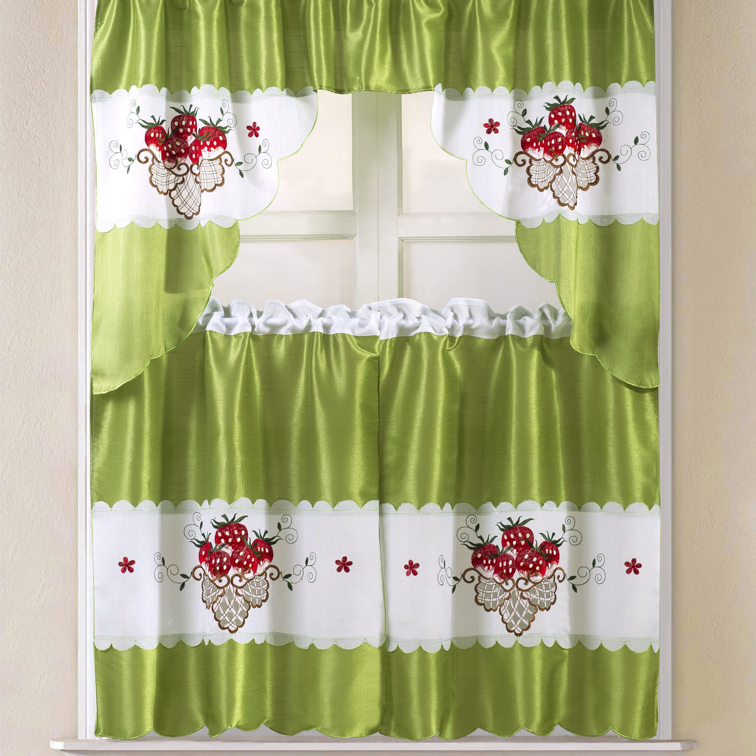 "Sosa Faux Silk 3 Piece 60"" Kitchen Curtain Set With Trendy Faux Silk 3 Piece Kitchen Curtain Sets (View 18 of 20)"