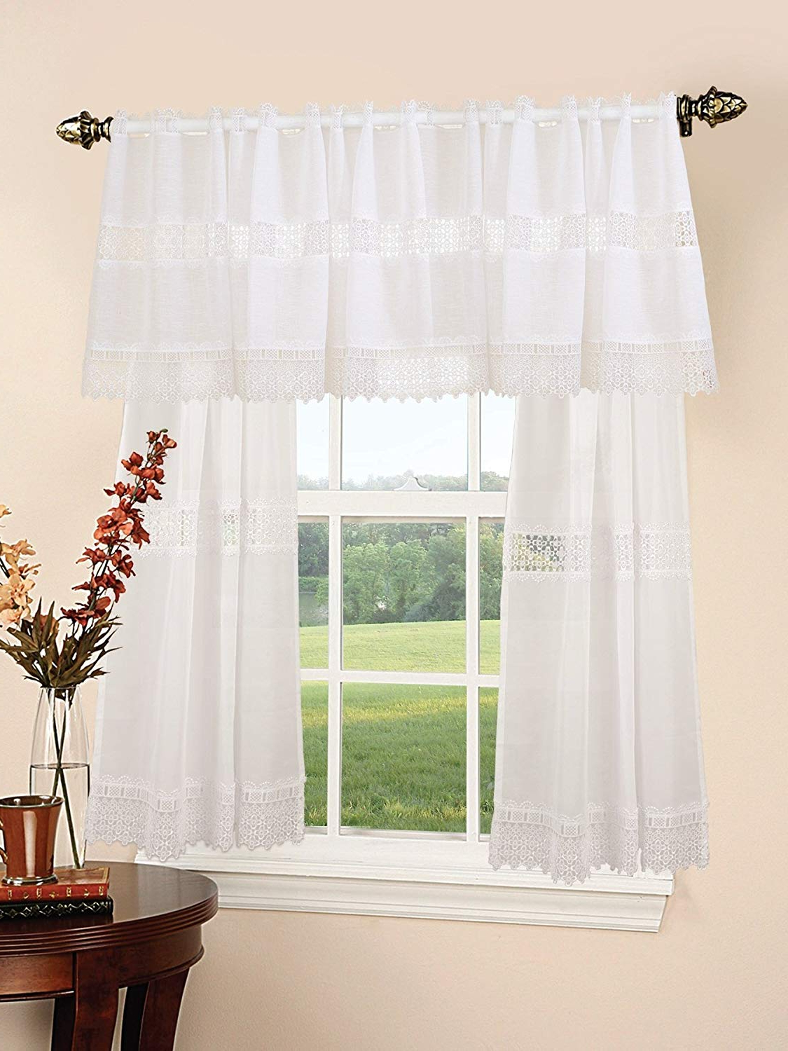 Spring Daisy Tiered Curtain 3 Piece Sets With Regard To 2020 Violet Linen Treasure Lace Design Sheer 3 Piece Kitchen Curtain Set, White (View 18 of 20)