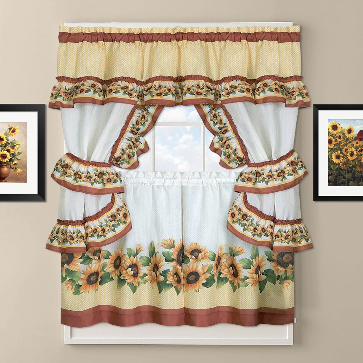 Sunflower Cottage Kitchen Curtain Tier And Valance Set Intended For Widely Used Window Curtains Sets With Colorful Marketplace Vegetable And Sunflower Print (View 8 of 20)