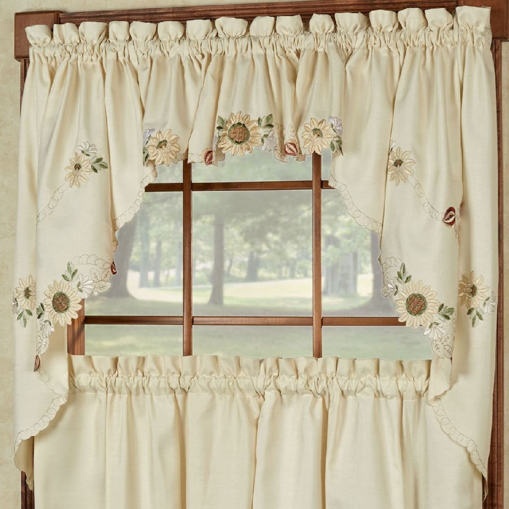 Sunflower Cottage Kitchen Curtain Tier And Valance Sets In Preferred Fancy Sunflower Cream Embroidered Kitchen Curtains – Tiers Valance Or Swag (View 7 of 20)