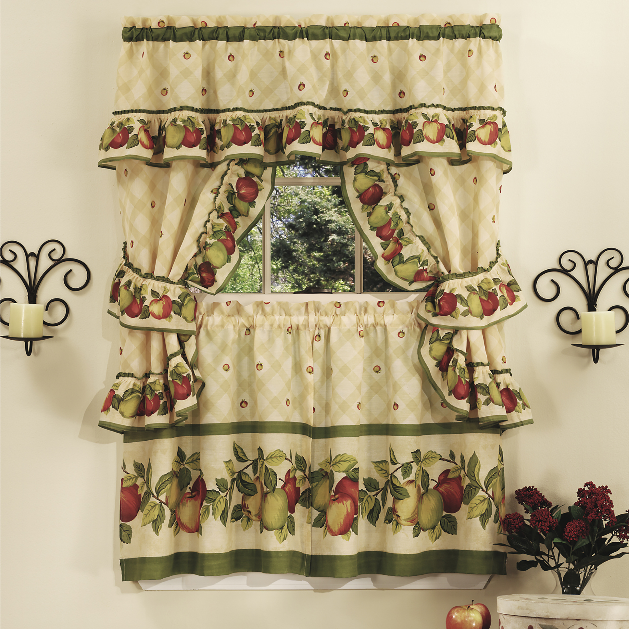 Sunflower Cottage Kitchen Curtain Tier And Valance Sets Pertaining To Famous Details About 5Pc Window Kitchen Curtain Cottage Set, Apple Vines, Tiers, Valance, Tiebacks (View 5 of 20)