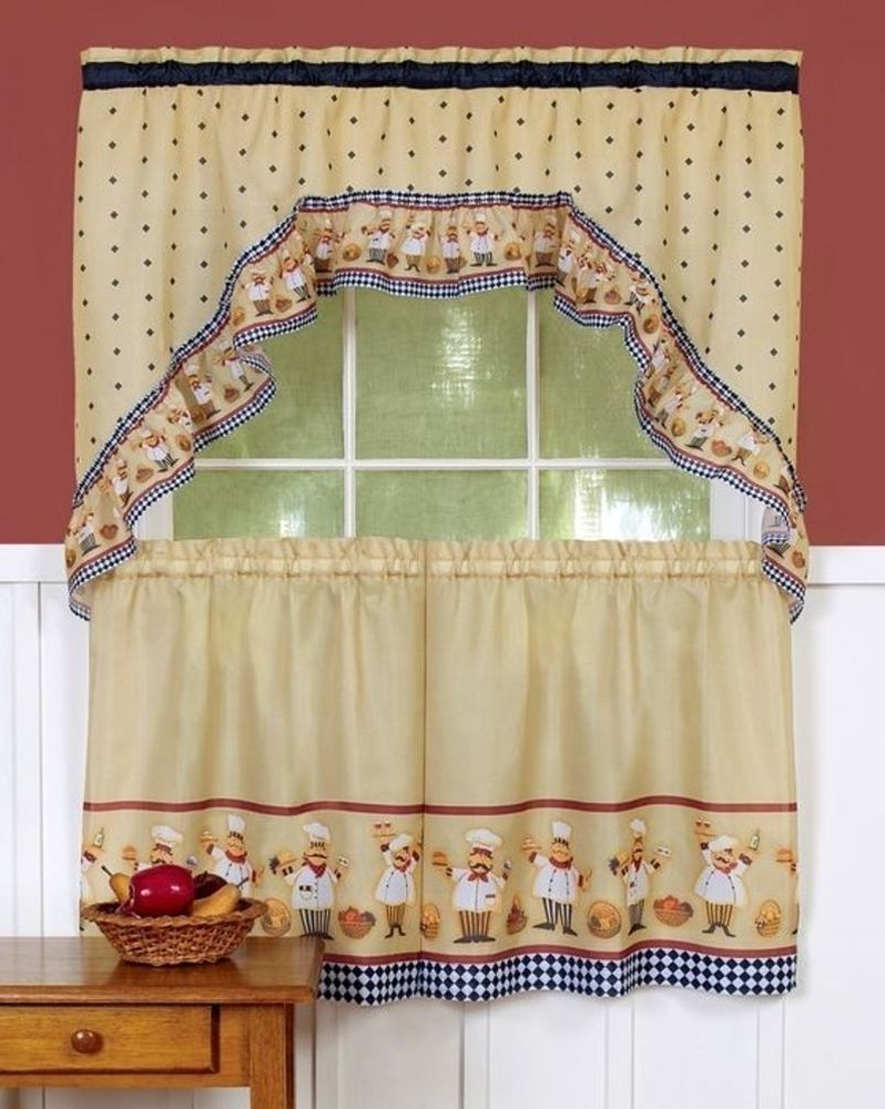Sunflower Cottage Kitchen Curtain Tier And Valance Sets Regarding 2021 3 Pc Fat Italian/french Chef Printed Tiers & Swag Curtain (View 15 of 20)