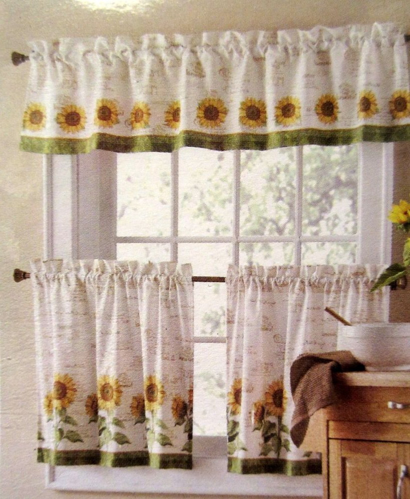 Sunflower Cottage Kitchen Curtain Tier And Valance Sets Within Newest Sunflowers 3 Piece 24L Tiers Valance Set Kitchen Curtains In (View 6 of 20)