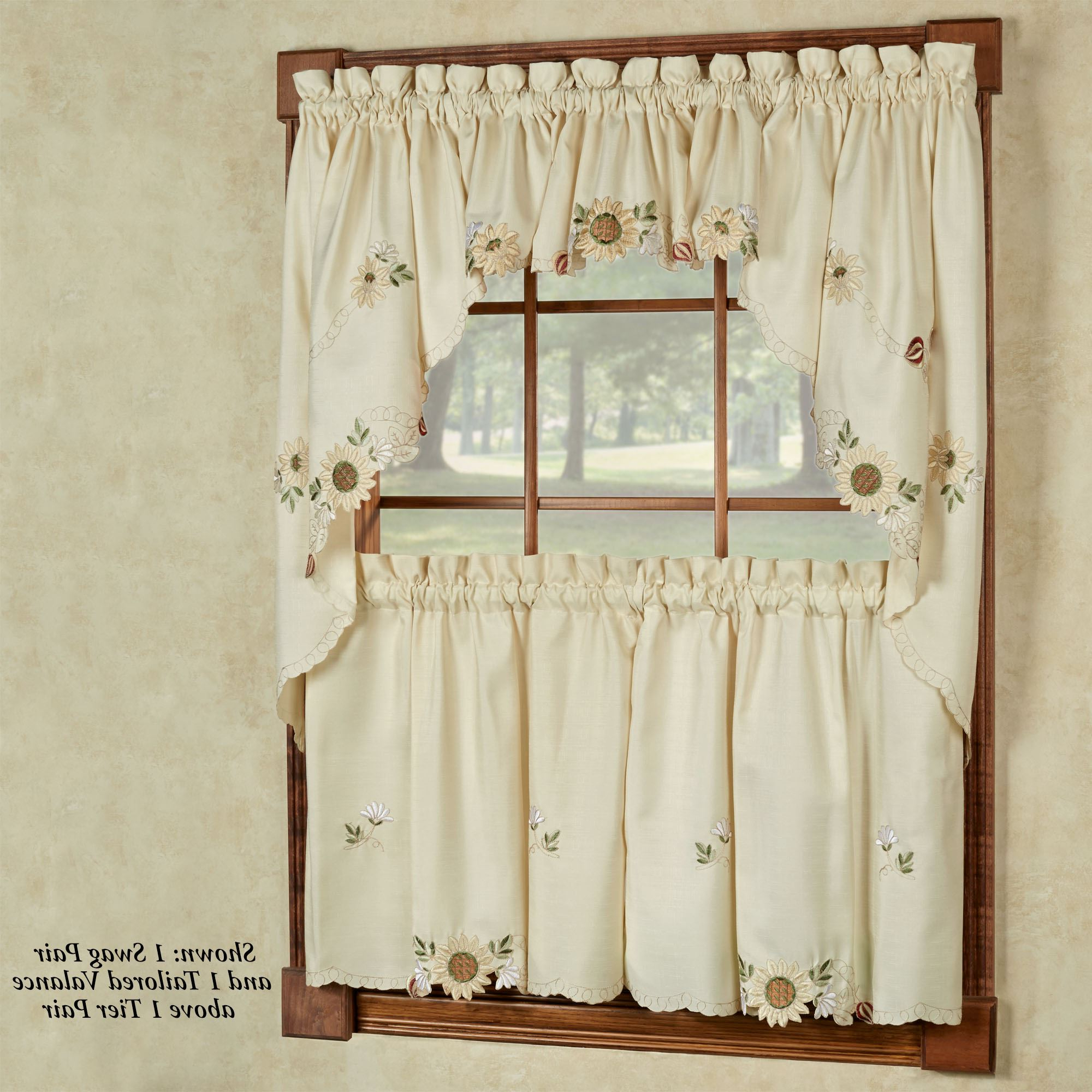 Sunflower Embroidered Tier Window Treatment With Regard To 2020 Tailored Valance And Tier Curtains (View 5 of 20)