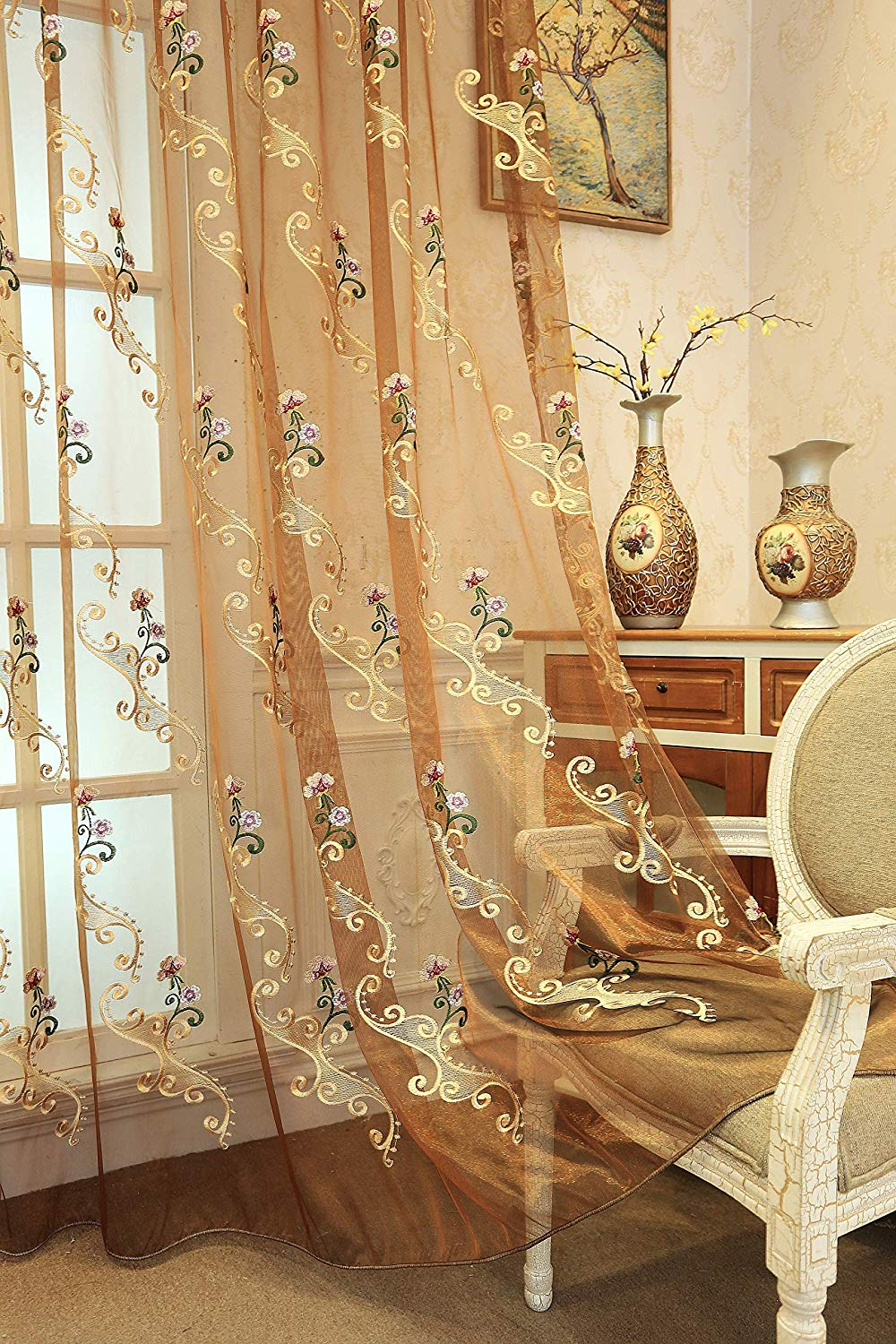 Suntown Home Decorations Grommet Sheer Curtain For Bedroom Romantic Orchid Embroidery Window Panels/treatment 84 Inches Long For Living Room – 2 Regarding 2021 Embroidered Ladybugs Window Curtain Pieces (View 10 of 20)
