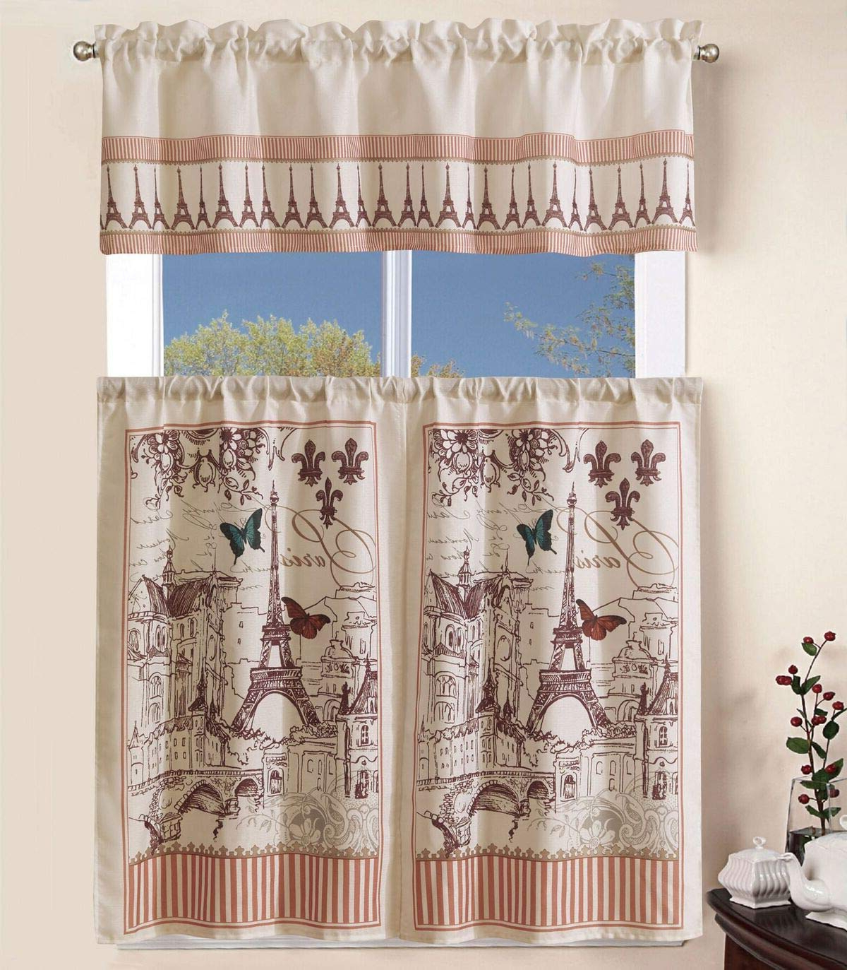"Superior Home 3 Piece Kitchen Curtain Linen Set With 2 Tiers 27"" W (Total  Width 54"") X 36"" L And 1 Tailored Valance 54"" W X 15"" L, France Paris  Eiffel For Well Known Solid Microfiber 3 Piece Kitchen Curtain Valance And Tiers Sets (View 17 of 20)"