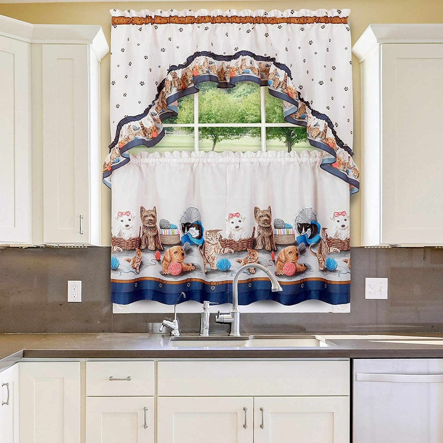 "Sweet Home Collection 3 Piece Kitchen Curtain Set Precious Pets Design With Tier Pair And Swag 36"", Navy With Regard To Trendy Embroidered Floral 5 Piece Kitchen Curtain Sets (View 13 of 20)"