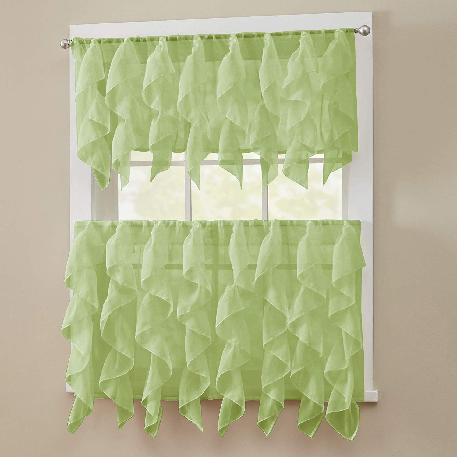 "Sweet Home Collection 3 Piece Kitchen Curtain Set Sheet Vertical Cascading Waterfall Ruffle Includes Valance & Choice Of 24"" Or 36"" Teir Pair, Tier, Pertaining To Trendy Silver Vertical Ruffled Waterfall Valance And Curtain Tiers (View 8 of 20)"