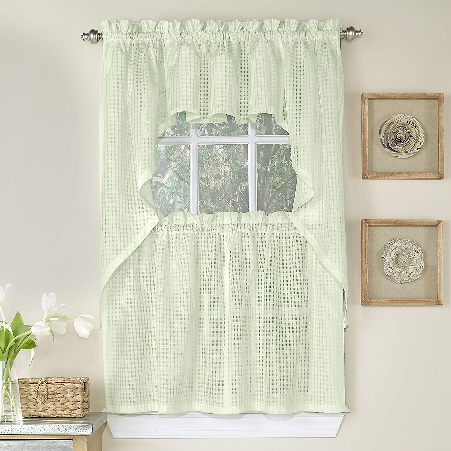"""Sweet Home Collection 5 Pc Kitchen Curtain Set, Swag, Valance Choice Of 24""""  Or 36"""" Tier Pair Micro/check Cream Throughout 2020 Touch Of Spring 24 Inch Tier Pairs (View 14 of 20)"""