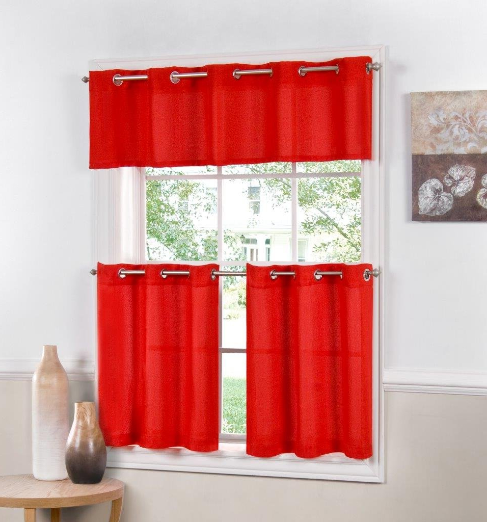 """Sweet Home Collection Jackson Textured Solid Kitchen Curtain Pair, 36"""" Tier, Jackson Red For Well Known Modern Subtle Texture Solid Red Kitchen Curtains (View 3 of 20)"""