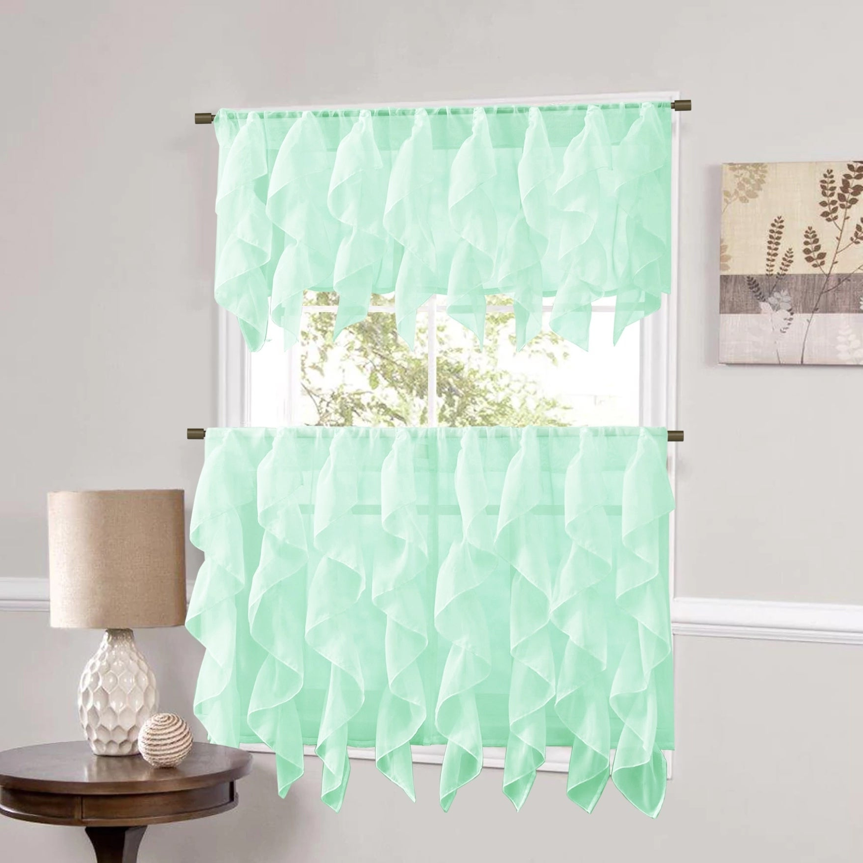 Sweet Home Collection Mint Vertical Ruffled Waterfall Valance And Curtain Tiers With Regard To Widely Used Vertical Ruffled Waterfall Valance And Curtain Tiers (View 3 of 20)