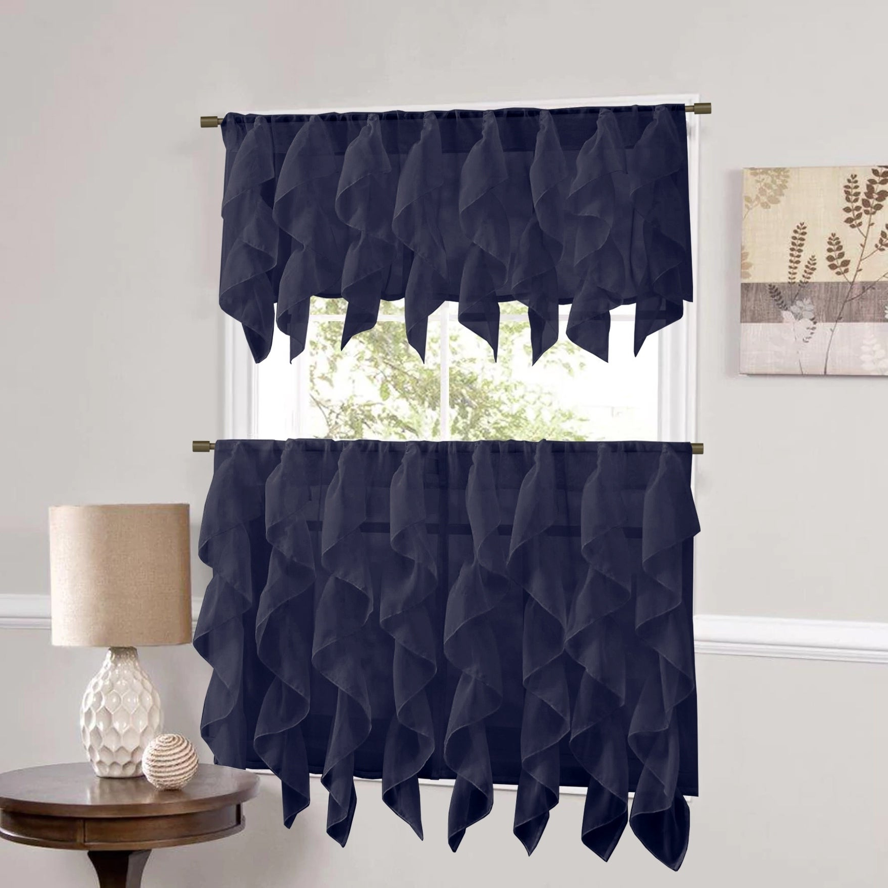 Sweet Home Collection Navy Vertical Ruffled Waterfall Valance And Curtain Tiers Regarding Favorite Vertical Ruffled Waterfall Valances And Curtain Tiers (View 3 of 20)