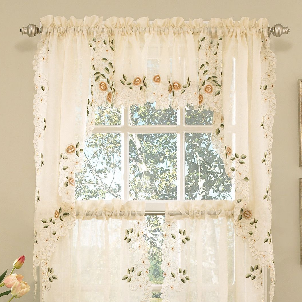 Featured Photo of Floral Embroidered Sheer Kitchen Curtain Tiers, Swags And Valances
