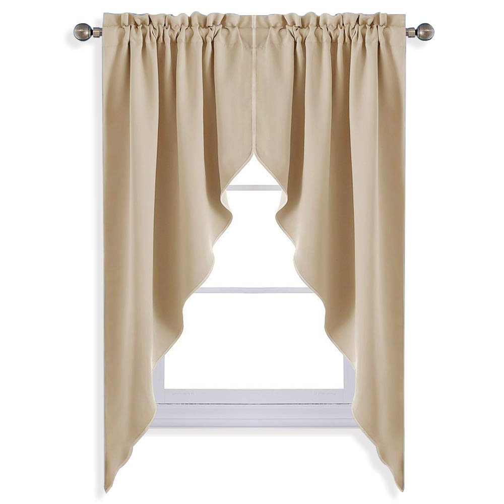 Tailored Valance And Tier Curtains Throughout Famous Nicetown Room Darkening Kitchen Tier Curtains Tailored Scalloped Valance/swags For Nursery For Basement (Biscotti Beige, 2 Pieces, 72 Inches Wide (View 17 of 20)