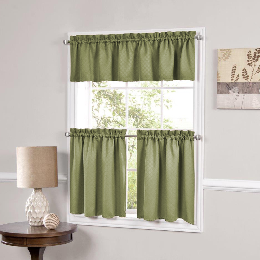 Tailored Valance And Tier Curtains With Favorite Details About Facets Sage Room Darkening Blackout Insulated Kitchen Curtains Tier Or Valance (View 9 of 20)