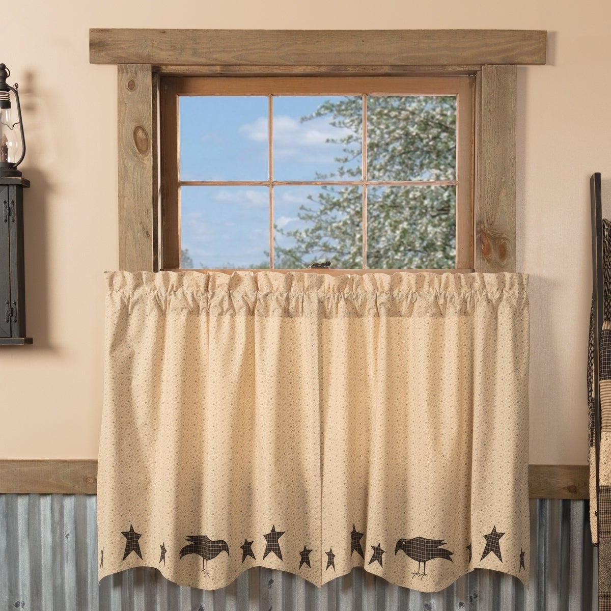 Tan Primitive Kitchen Curtains Vhc Kettle Grove Crow And Star Tier Pair Rod Pocket Cotton Star Appliqued Within 2020 Forest Valance And Tier Pair Curtains (View 13 of 20)