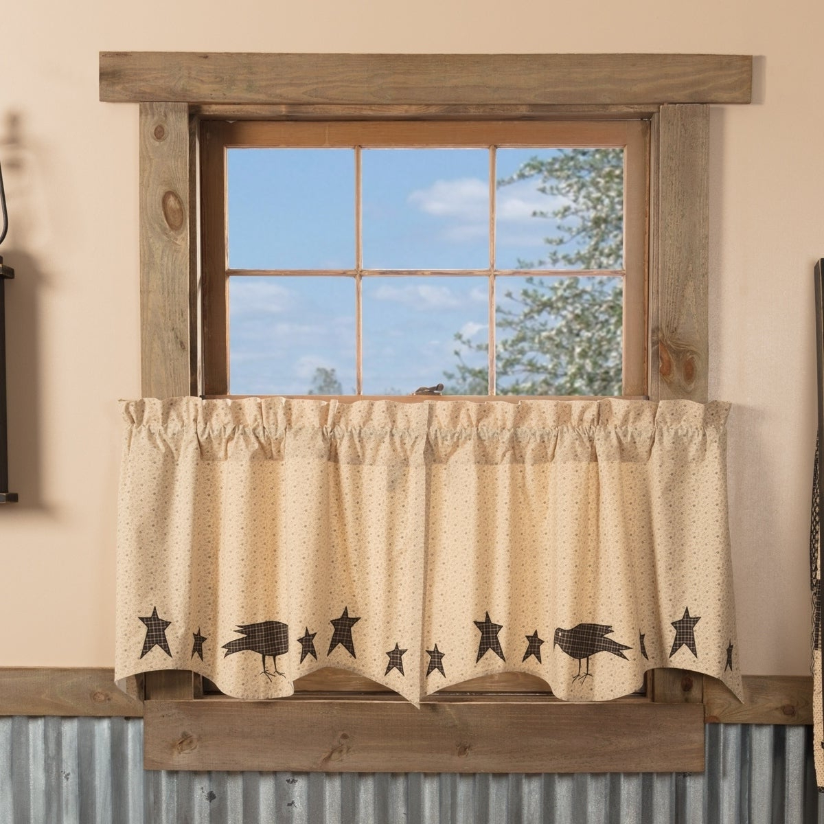 Tan Primitive Kitchen Curtains Vhc Kettle Grove Crow And Star Tier Pair Rod Pocket Cotton Star Appliqued Within Famous Primitive Kitchen Curtains (View 12 of 20)
