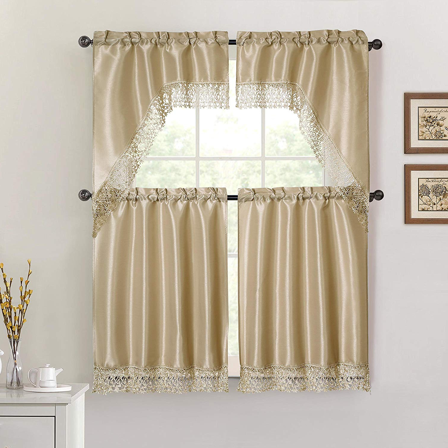 Taupe 4 Piece Kitchen Window Curtain Set: Macrame Border, 2 Swag And 2 Tier Panels (taupe) Intended For Most Up To Date Cotton Lace 5 Piece Window Tier And Swag Sets (View 18 of 20)