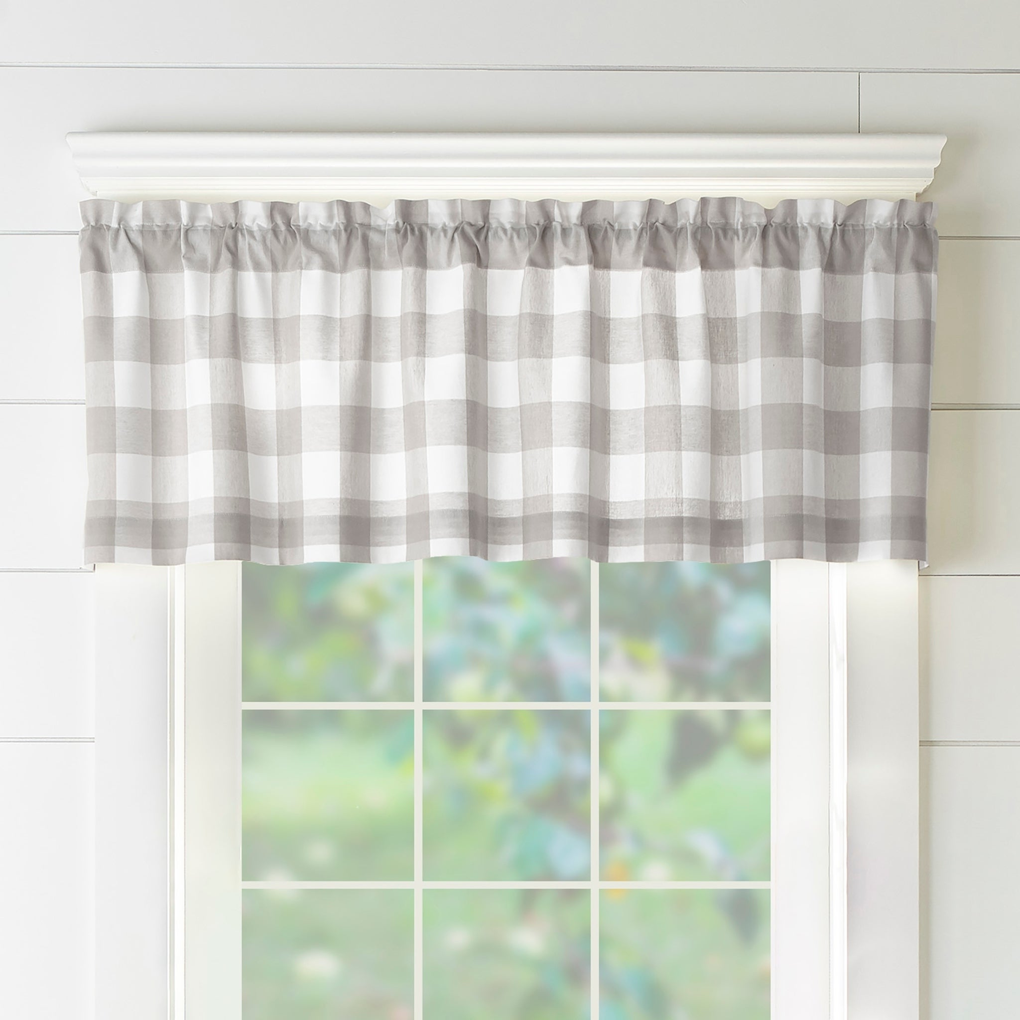 The Gray Barn Emily Gulch Buffalo Check Kitchen Window Valance Pertaining To 2021 Pintuck Kitchen Window Tiers (View 17 of 20)