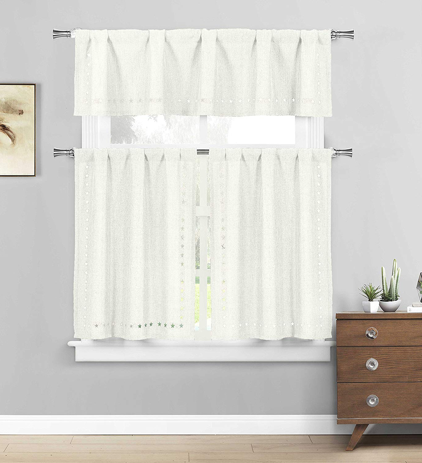 Three Piece Kitchen/cafe Tier Window Curtain Set: Solid Color With Stars  Cut Out Pattern (White) Inside 2020 Solid Microfiber 3 Piece Kitchen Curtain Valance And Tiers Sets (View 18 of 20)