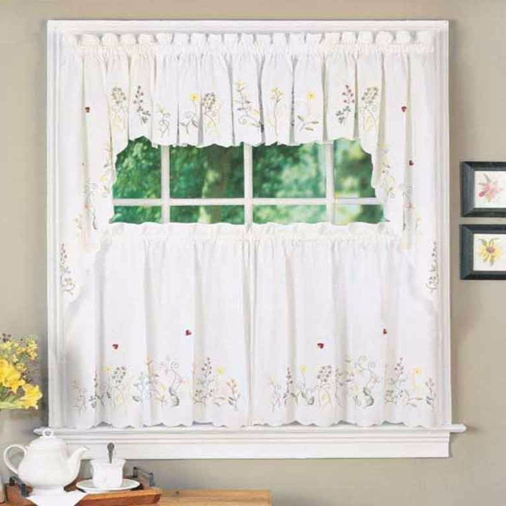 Tier Curtains, Curtains Within Embroidered Ladybugs Window Curtain Pieces (View 5 of 20)