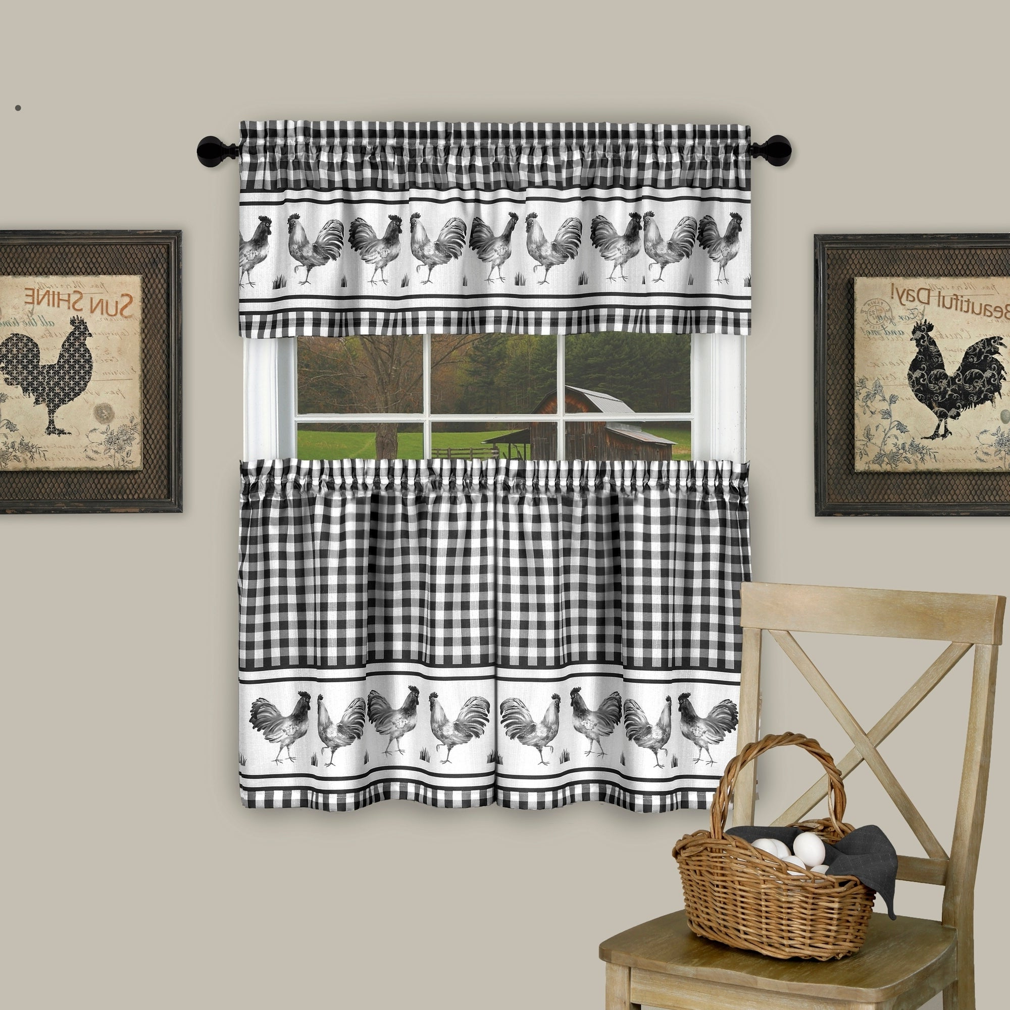 Top Of The Morning Printed Tailored Cottage Curtain Tier Sets Inside Famous Barnyard Window Curtain Tier Pair And Valance Set (View 6 of 20)