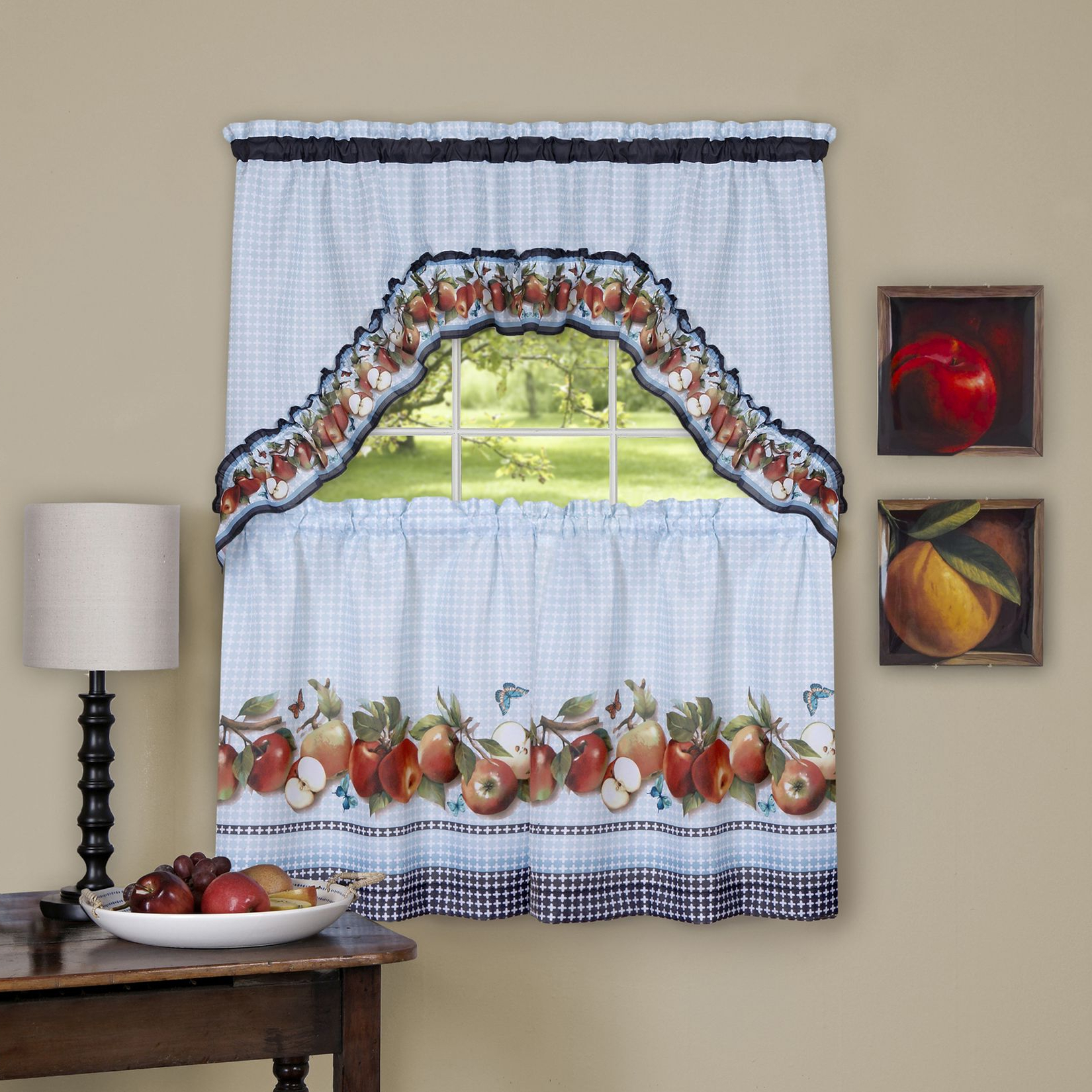Top Of The Morning Printed Tailored Cottage Curtain Tier Sets Pertaining To Most Recent Achim Golden Delicious – Printed Tier & Swag Window Curtain (View 7 of 20)