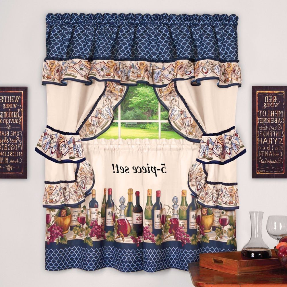 Top Of The Morning Printed Tailored Cottage Curtain Tier Sets Regarding Most Recent Hanging Cottage Curtain Decor With Colorful Border Of Wine (View 8 of 20)