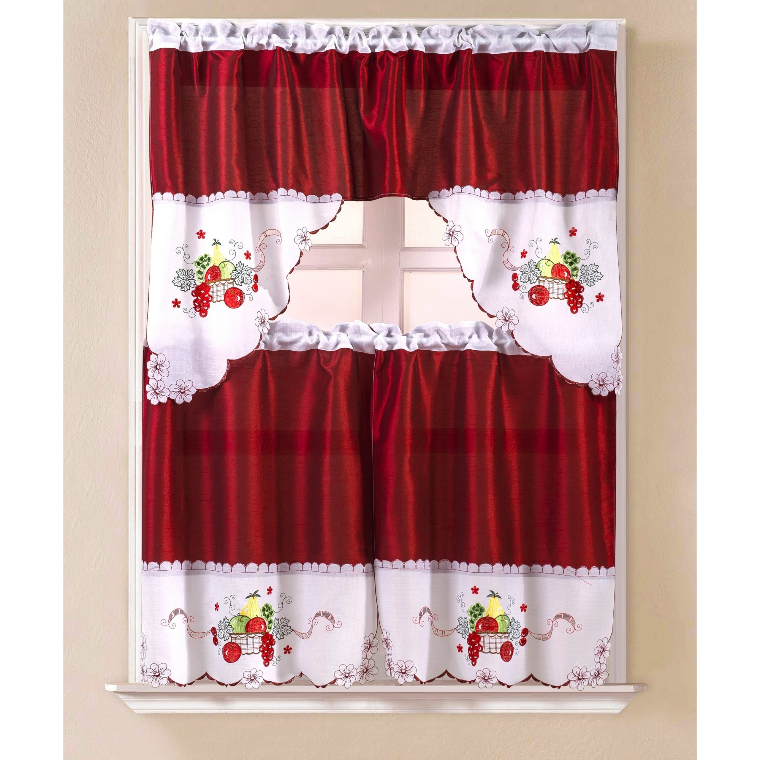 Top Of The Morning Printed Tailored Cottage Curtain Tier Sets Regarding Well Liked Porch & Den Eastview Faux Silk 3 Piece Kitchen Curtain Set (View 18 of 20)