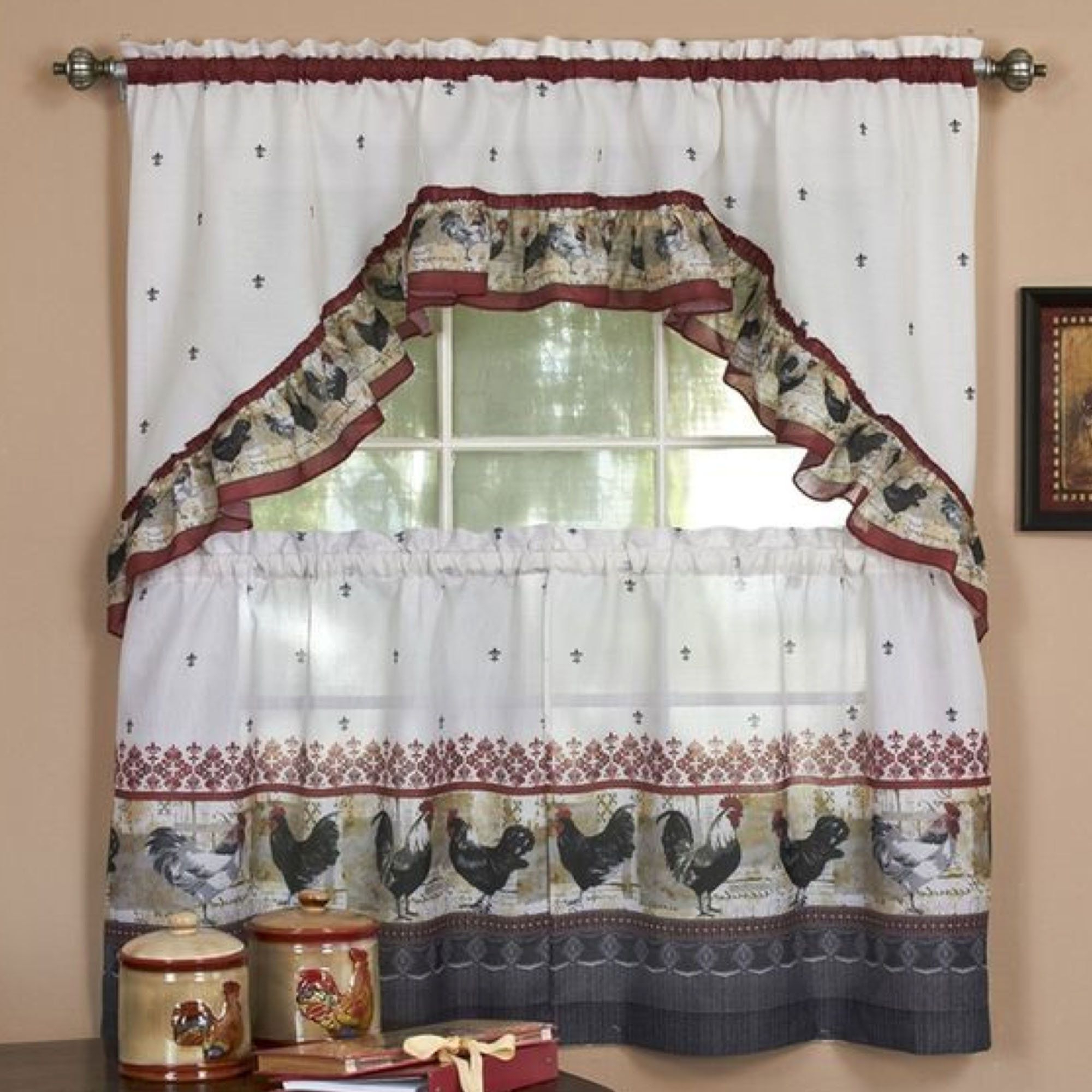 Top Of The Morning Printed Tailored Cottage Curtain Tier Sets With Most Current Rooster Tier And Swag Set Burgundy (View 3 of 20)