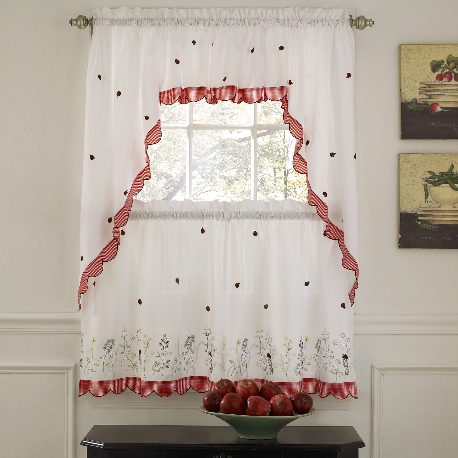 Top Of The Morning Printed Tailored Cottage Curtain Tier Sets Within Most Current Details About Embroidered Ladybug Meadow Kitchen Curtains Choice Of Tiers Or Valance Or Swags (View 10 of 20)