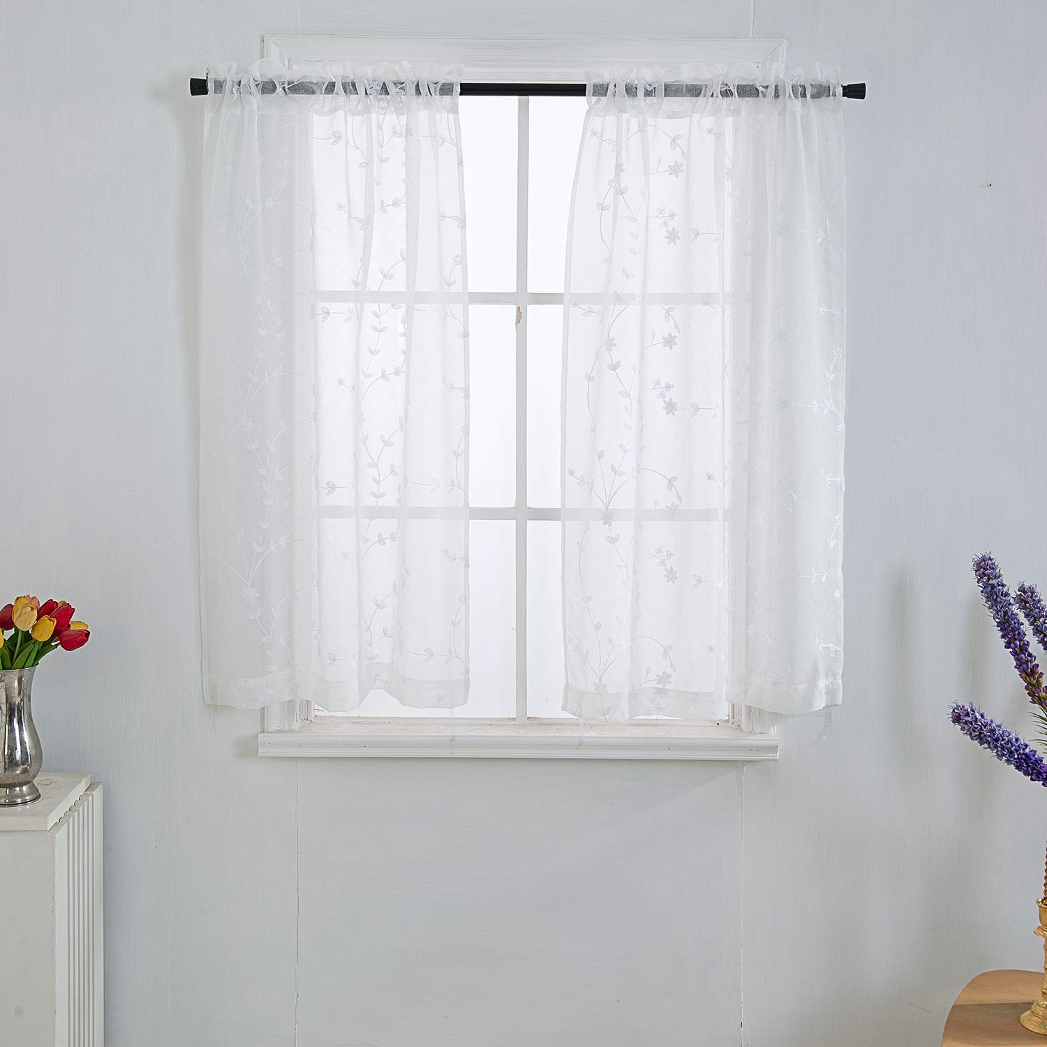 Touch Of Spring 24 Inch Tier Pairs Intended For Best And Newest Sheer White Valance Floral Embroidered Window Tiers Pair Rod Pocket Window  Curtain Valance White On Floral Pattern 34X36 Inch 2 Panels Set (View 16 of 20)