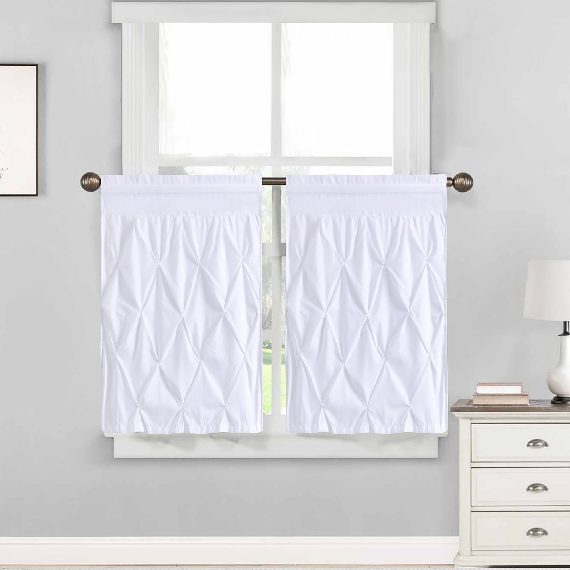 "Touch Of Spring 24 Inch Tier Pairs Pertaining To Current Hudson Pintuck Window Curtain Tier Pair (24""x30"") White – 36 Inch (View 10 of 20)"