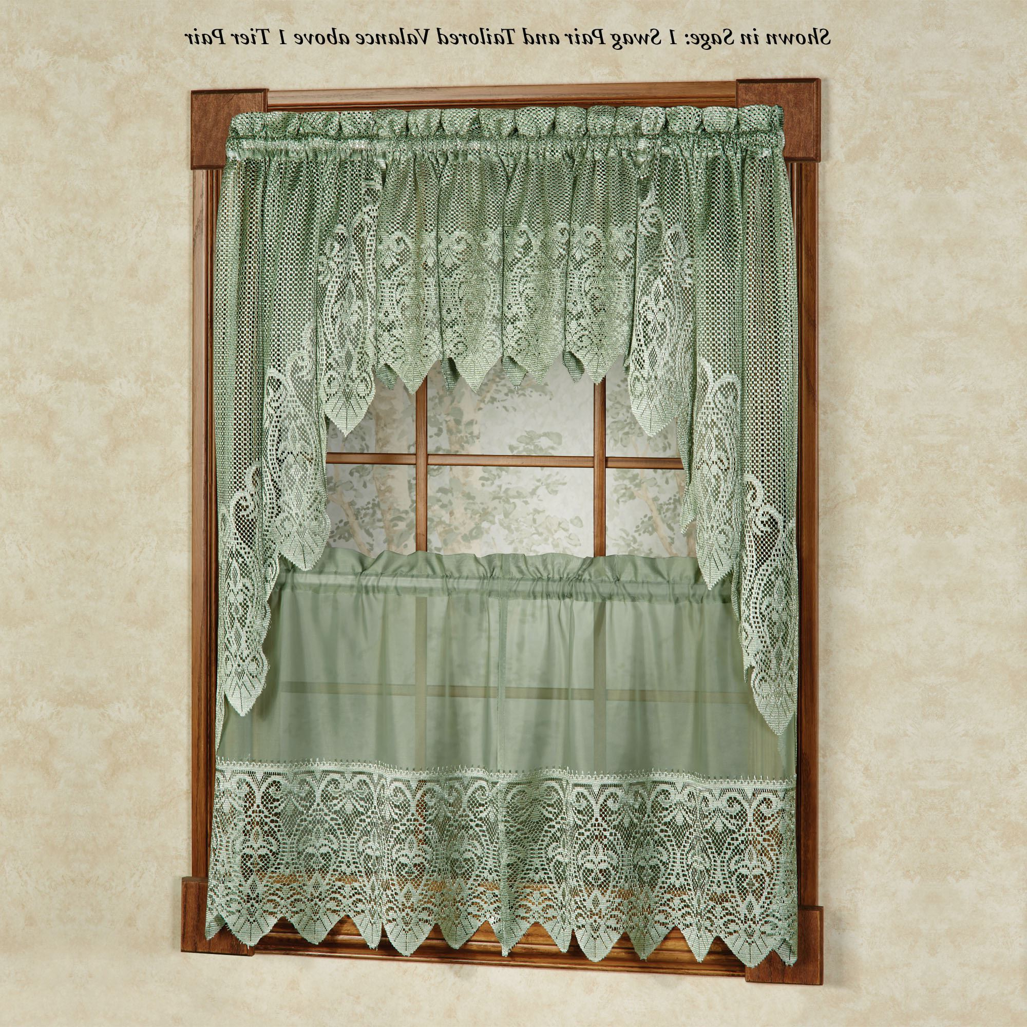 Traditional Tailored Tier And Swag Window Curtains Sets With Ornate Flower Garden Print Regarding Best And Newest Valerie Macrame Sheer Tier Window Treatment (View 8 of 20)