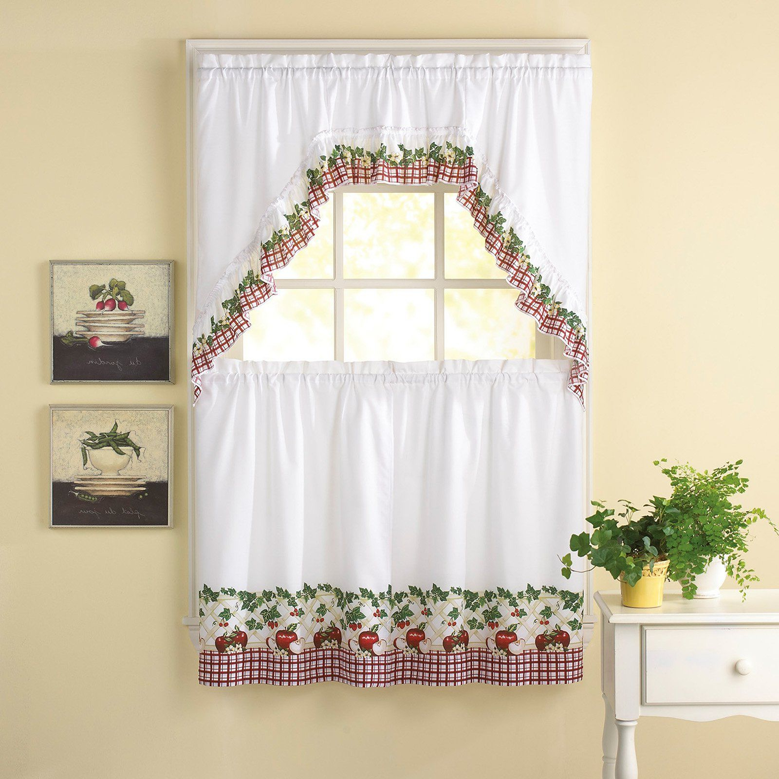 Traditional Tailored Tier And Swag Window Curtains Sets With Ornate Flower Garden Print Throughout Most Popular Chf Industries Apple Blossom 36 In (View 13 of 20)