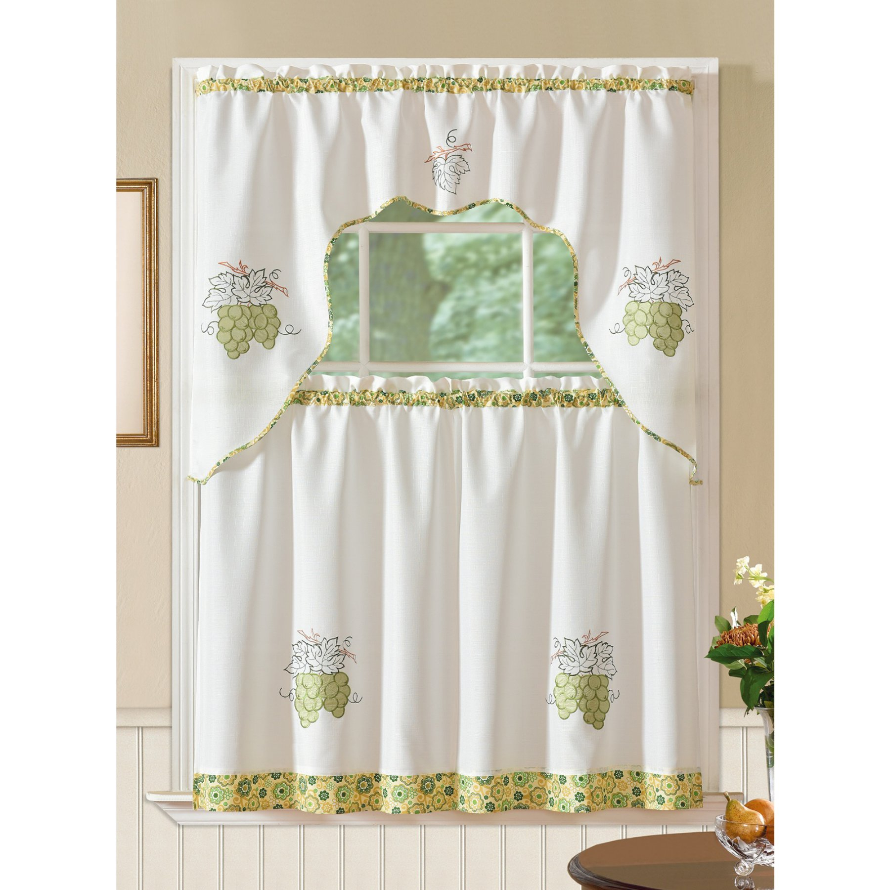 Traditional Tailored Tier And Swag Window Curtains Sets With Ornate Flower Garden Print With Most Up To Date Rt Designers Collection Grand Grapes Embroidered Kitchen (View 19 of 20)