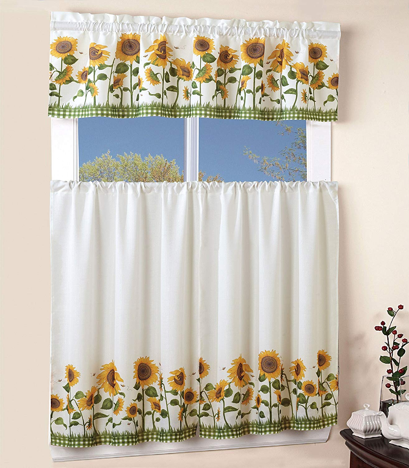 Traditional Tailored Window Curtains With Embroidered Yellow Sunflowers Throughout Most Current Elegant Window Treatment Sunflower 3Piece Kitchen Curtain Lovely Tier And Valance Set (View 12 of 20)