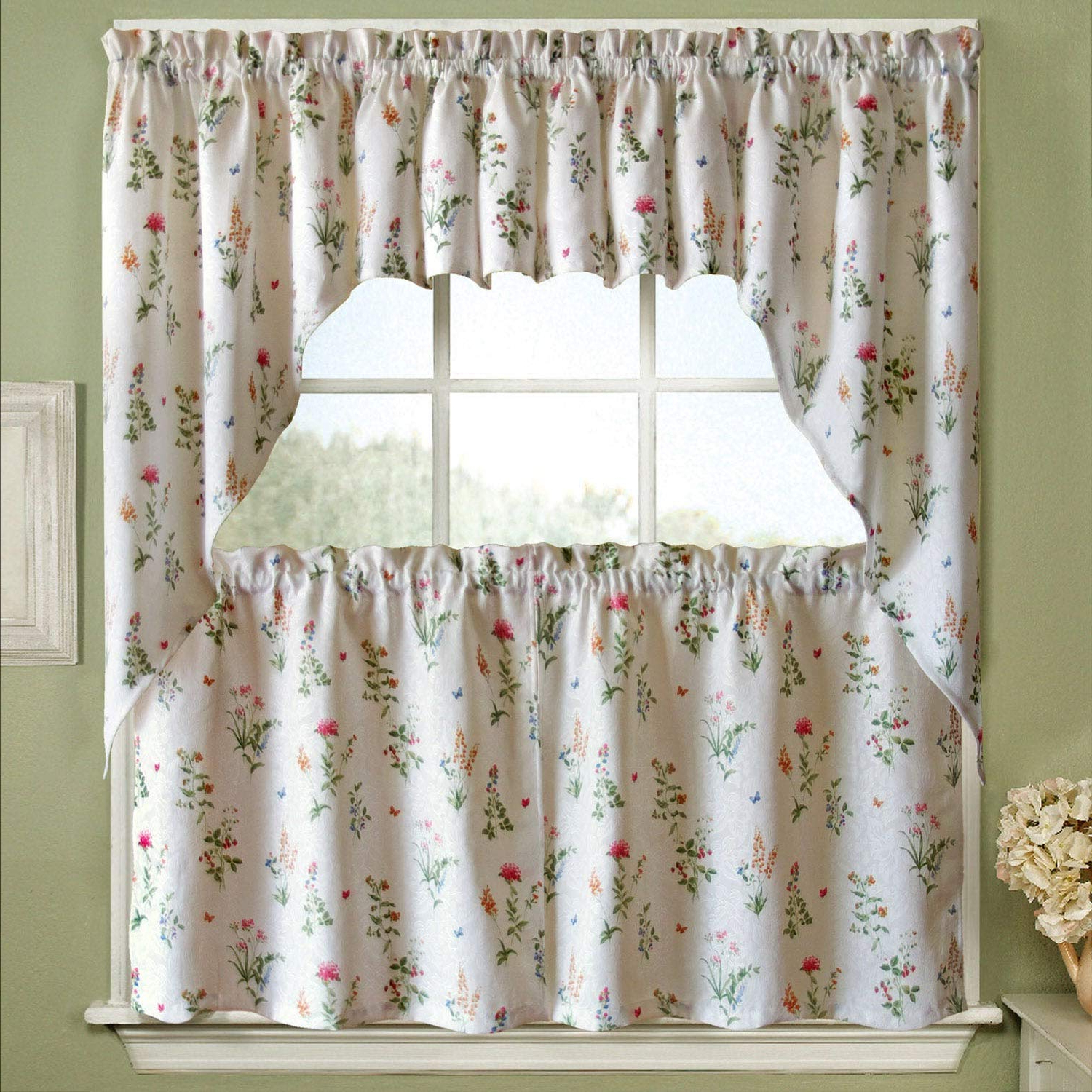 Traditional Two Piece Tailored Tier And Valance Window Curtains For Most Popular Amazon: Bed Bath N More Vibrant Floral Garden Motif (View 11 of 20)