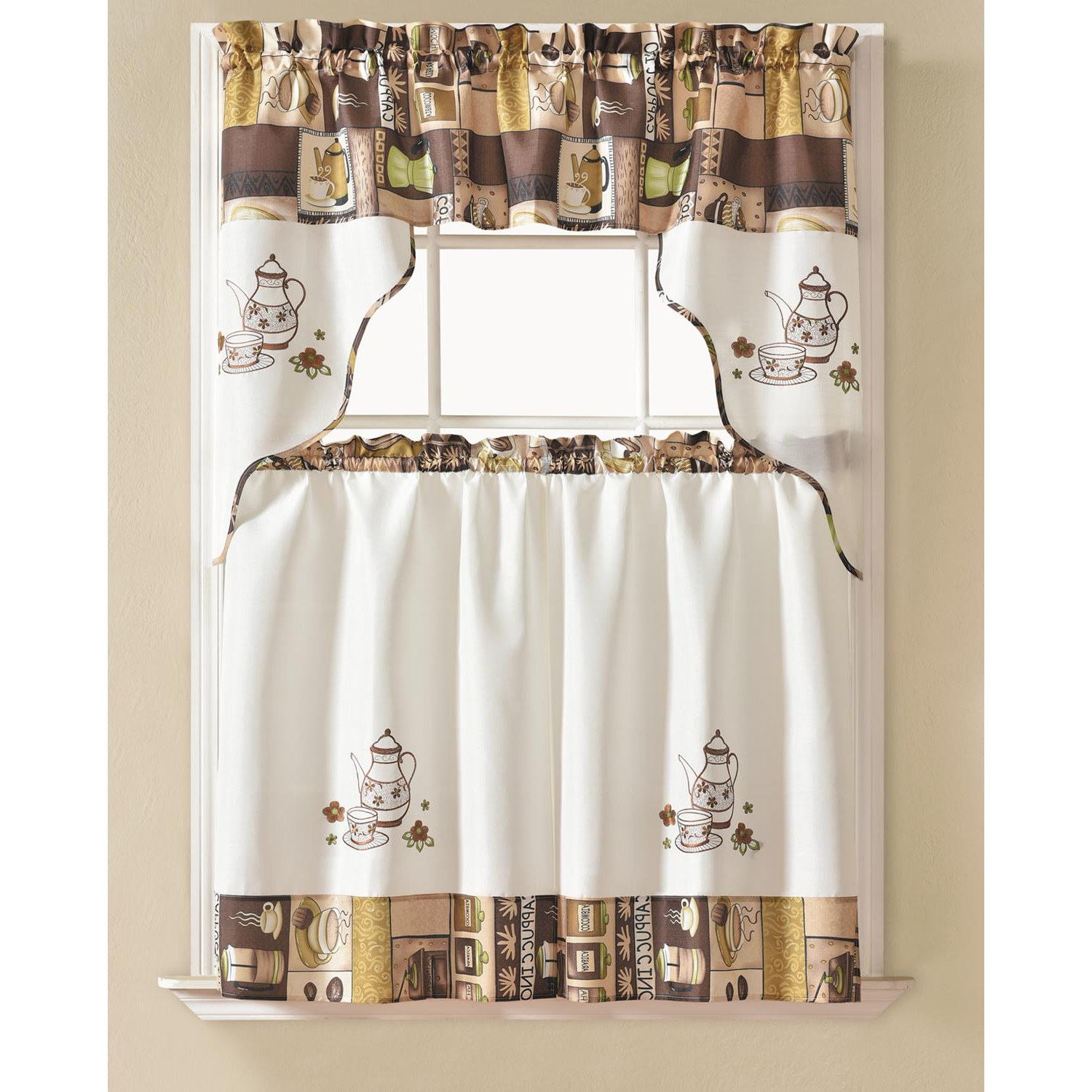 Traditional Two Piece Tailored Tier And Valance Window Curtains Inside Newest Details About Urban Embroidered Coffee Tier And Valance Kitchen Curtain Set (View 12 of 20)
