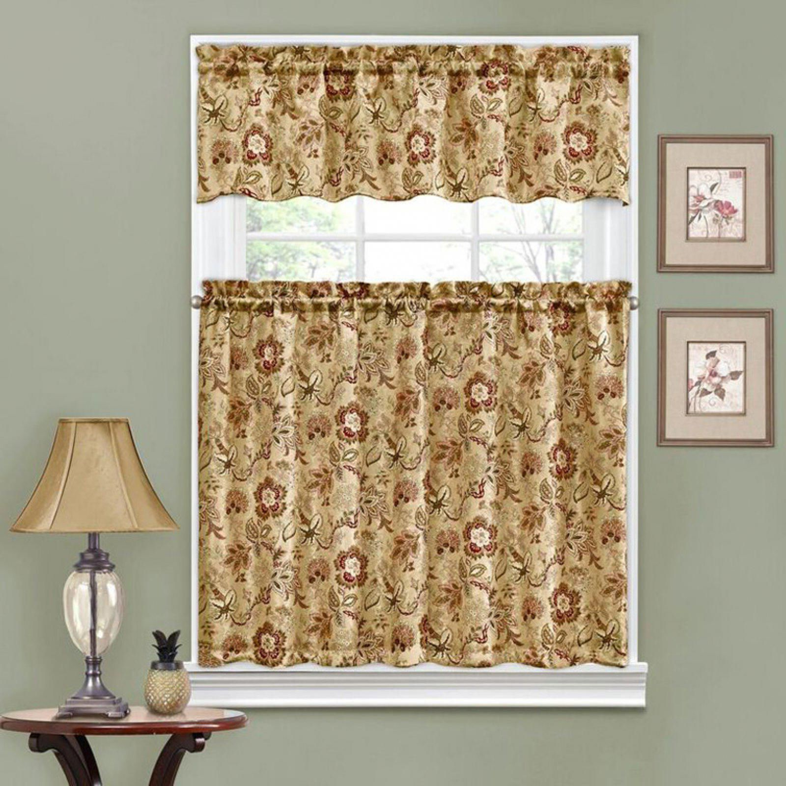 Traditionswaverly Navarra Floral Tier And Valance Set Throughout Most Up To Date Waverly Felicite Curtain Tiers (View 12 of 20)